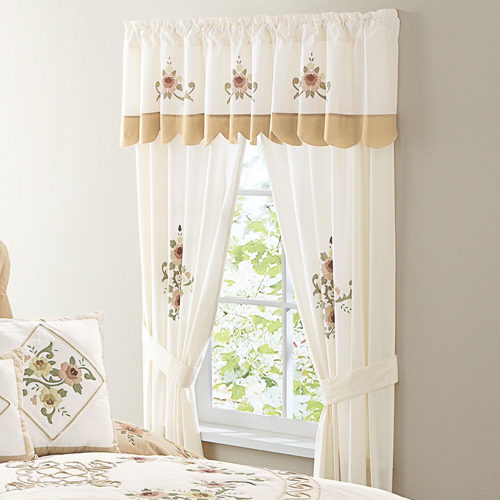 Ava Embroidered Valance, TAUPE