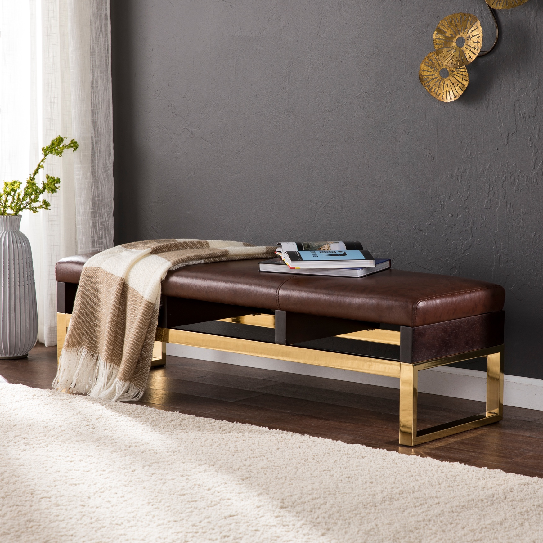 Renwick Decorative Bench - Midcentury Modern Style, EXPRESSO