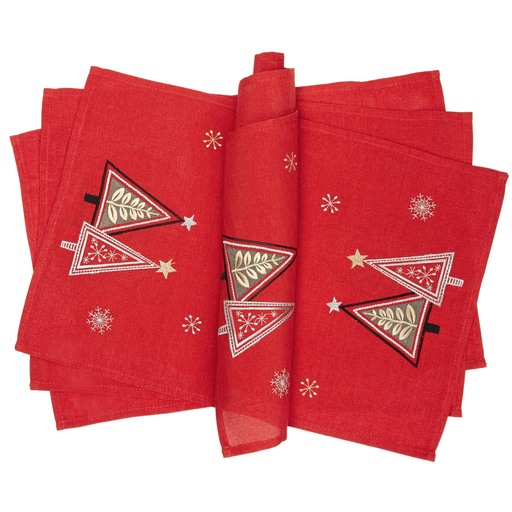 Embroidered Christmas Placemats, Set of 4, RED