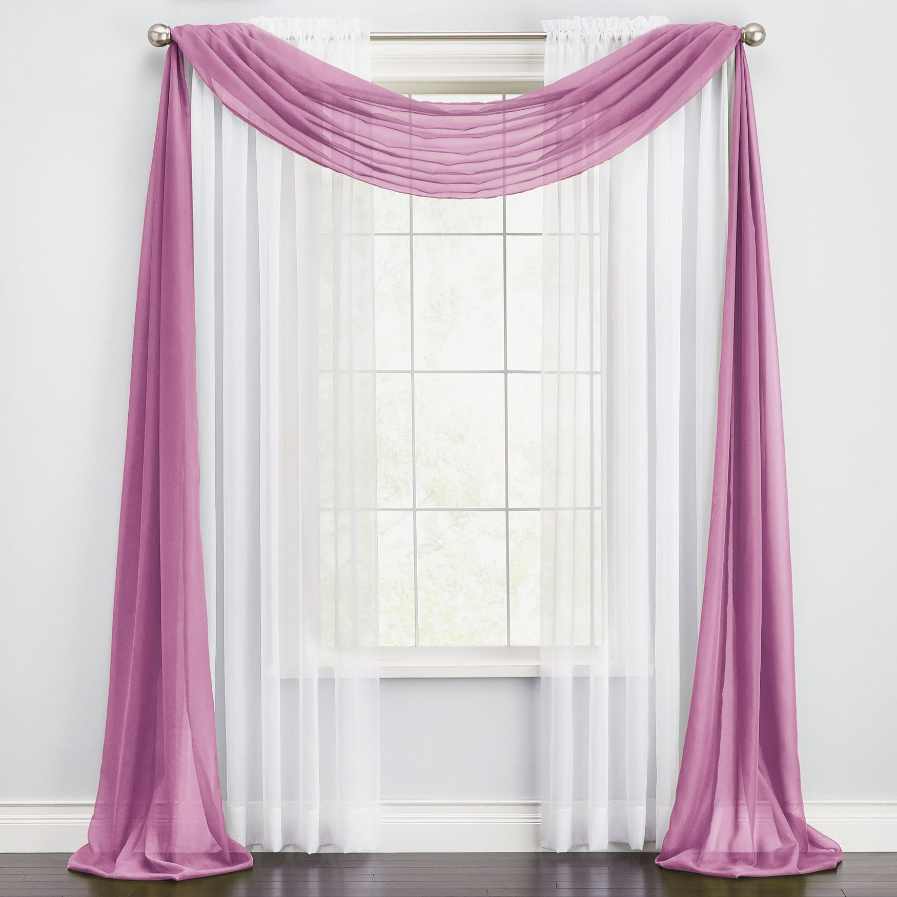 BH Studio® Sheer Voile Scarf Valance,
