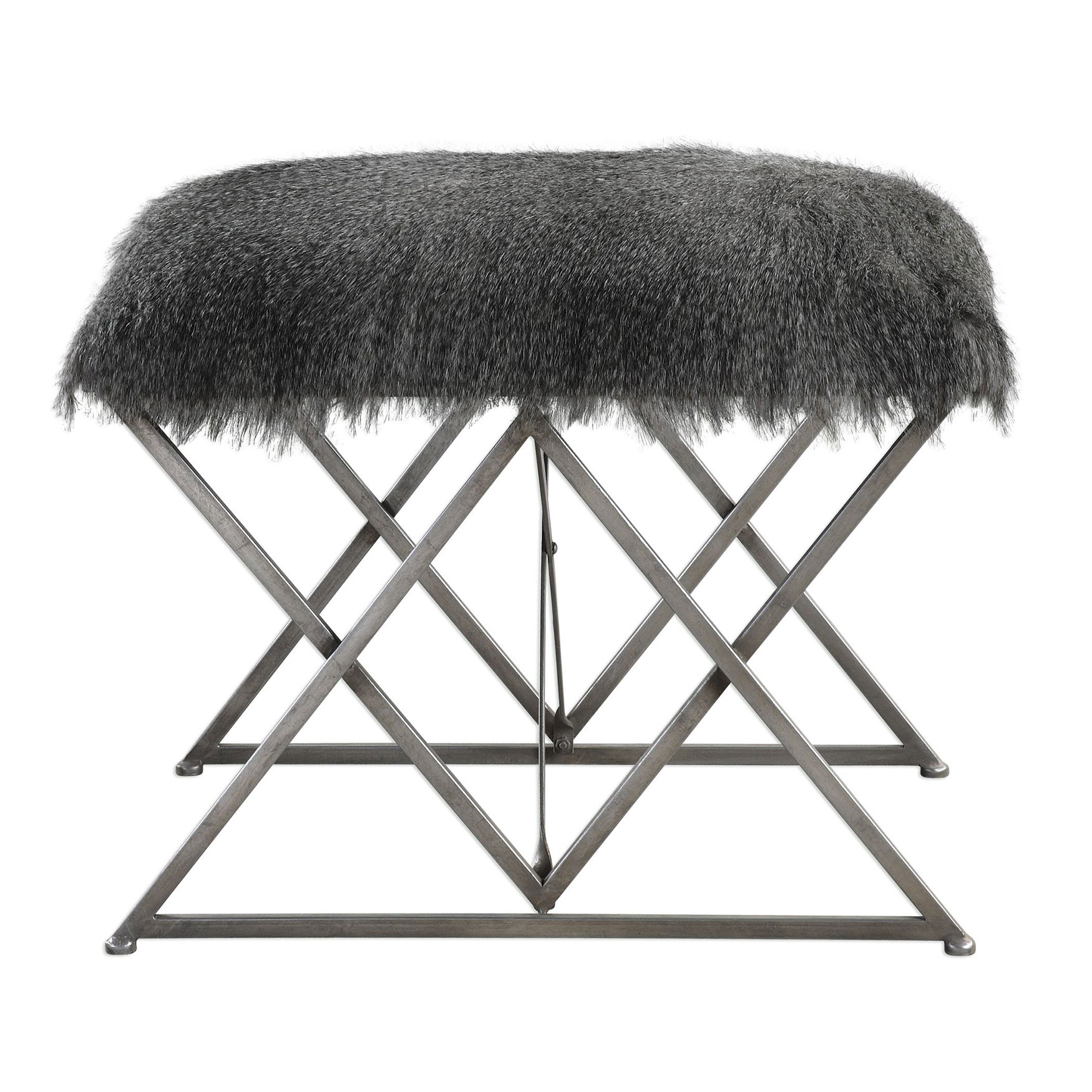 Astairess Fur Small Bench, GRAY