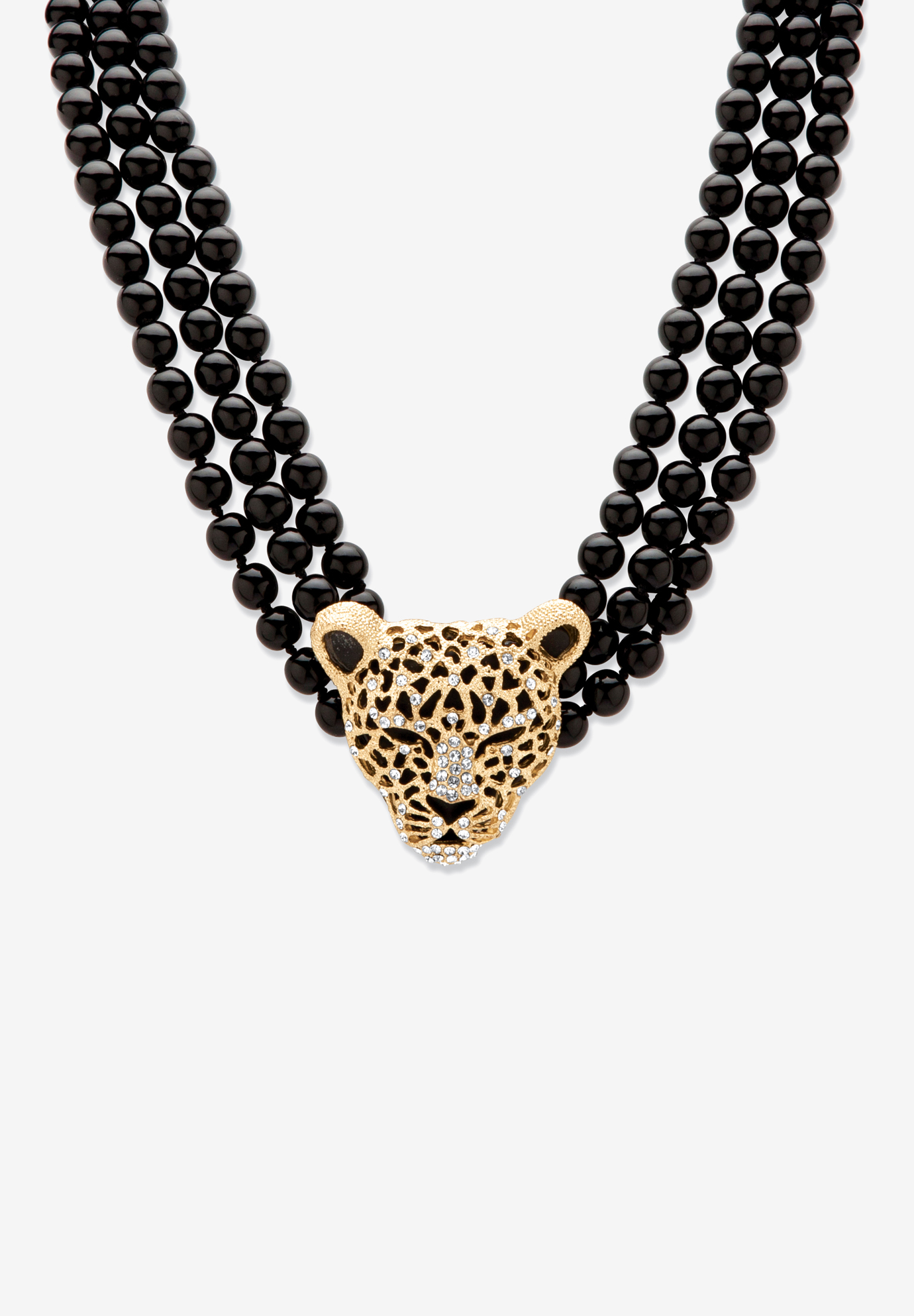 "Gold Tone Leopard Beaded Collar Necklace (49mm), Crystal, 20"" plus 2"", GOLD"
