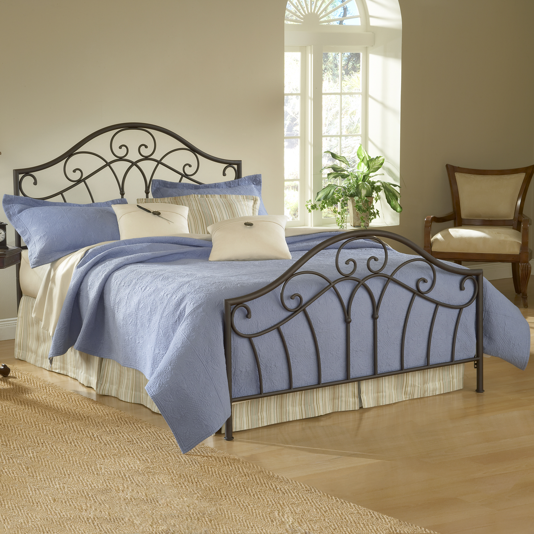 Queen Bed with Bed Frame, 83½'Lx61'Wx54'H, METALLIC BROWN