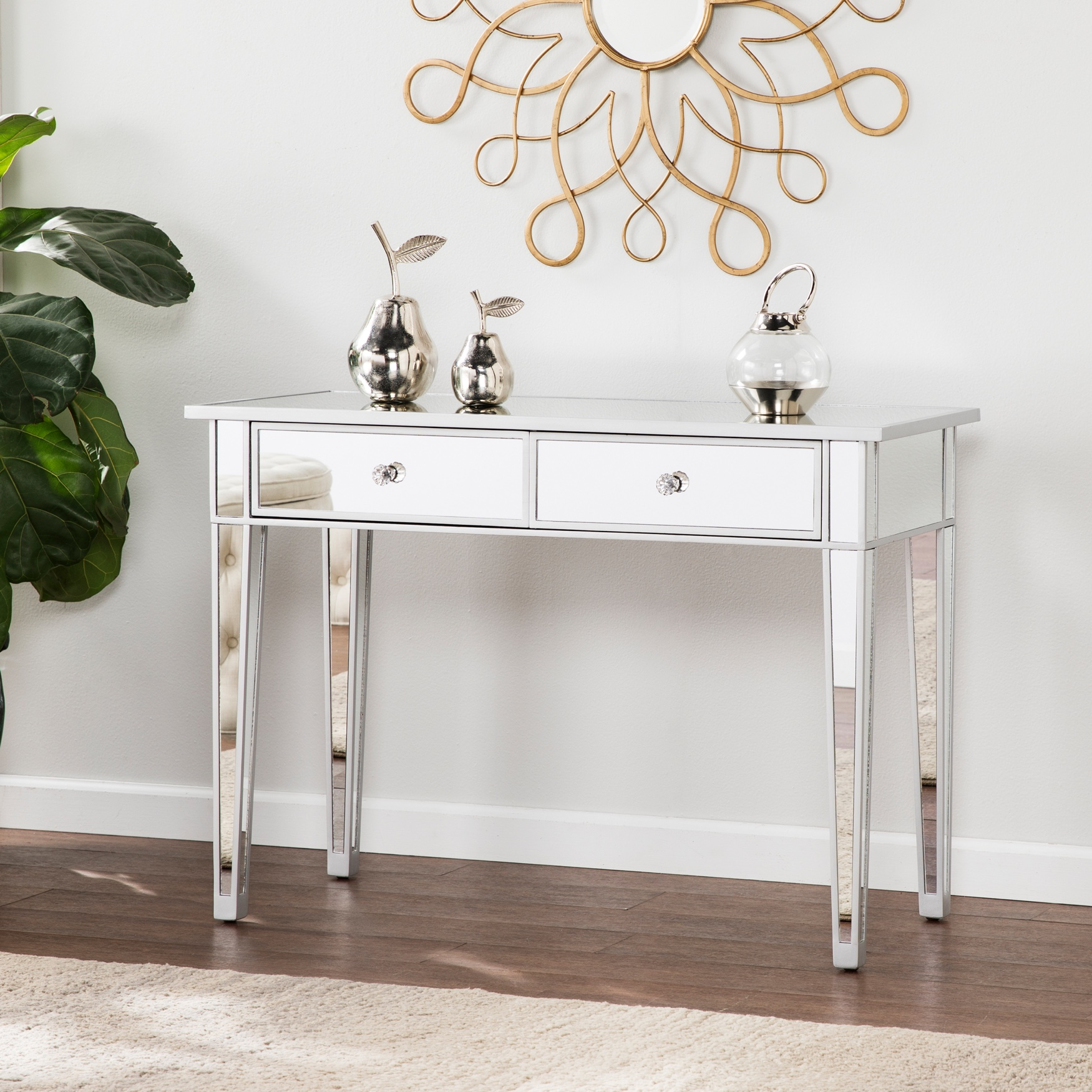 Mirage Mirrored 2-Drawer Console Table, SILVER