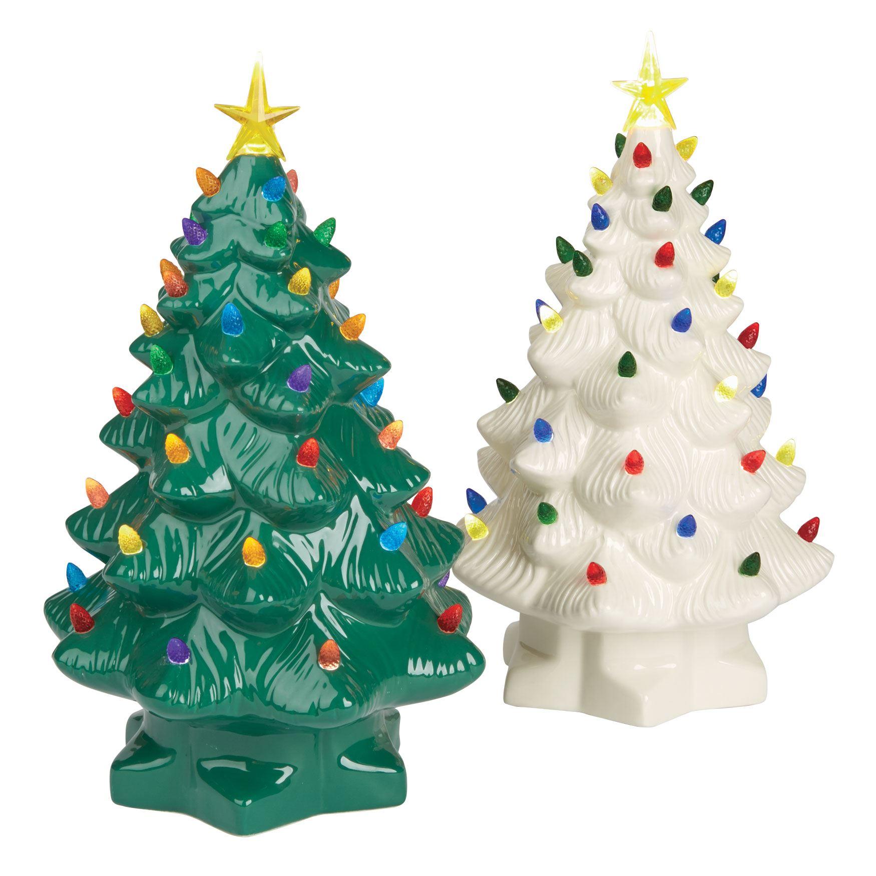 Pre-Lit Nostalgic Porcelain Christmas Tree | Plus Size Indoor ...