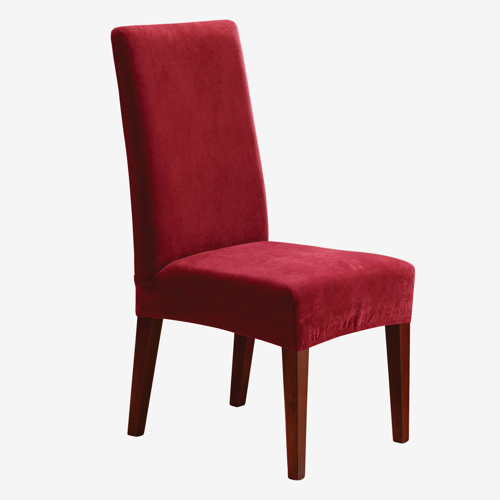 Stretch Pique Short Dining Room Chair Cover, GARNET