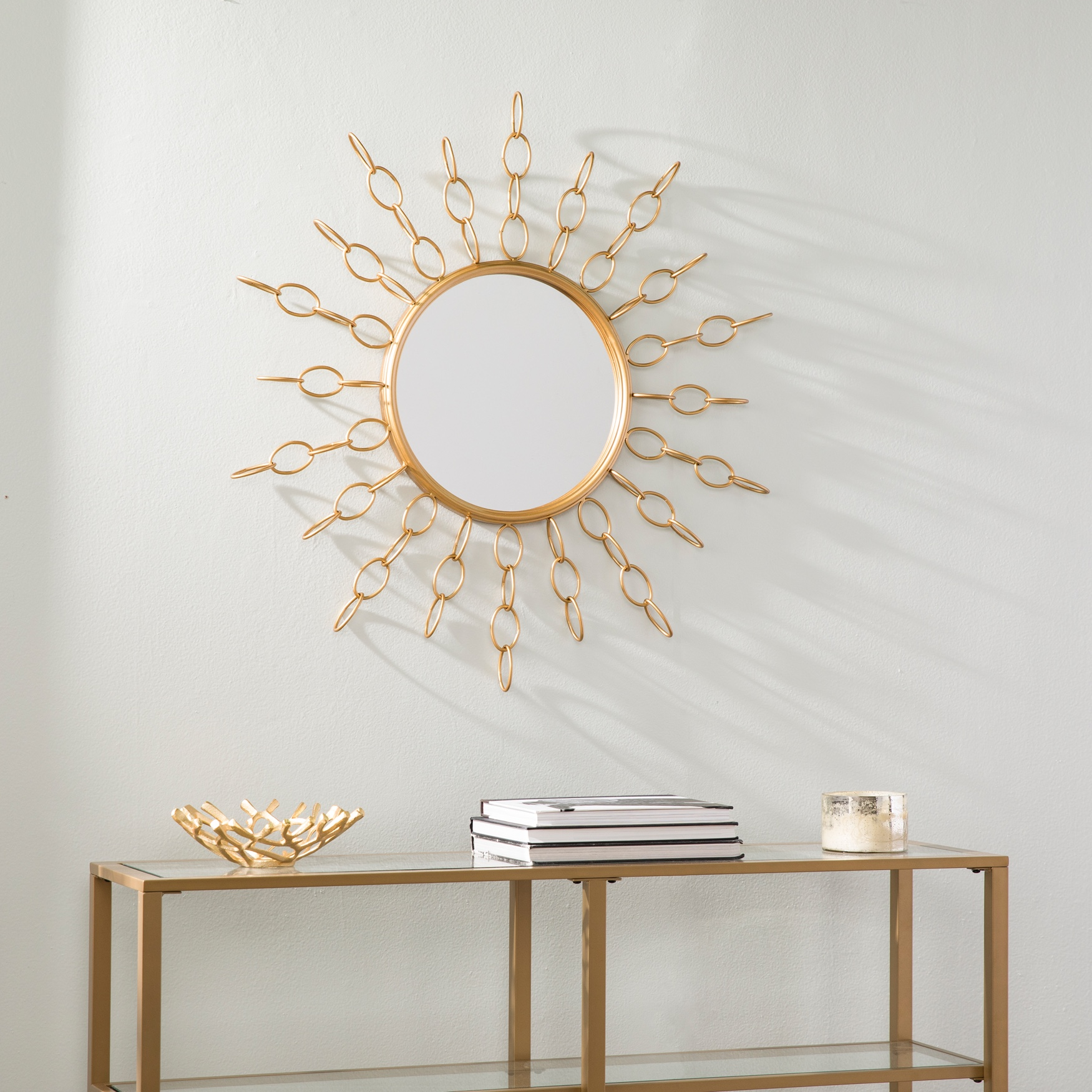 Salix Oversized Gold Starburst Mirror, GOLD