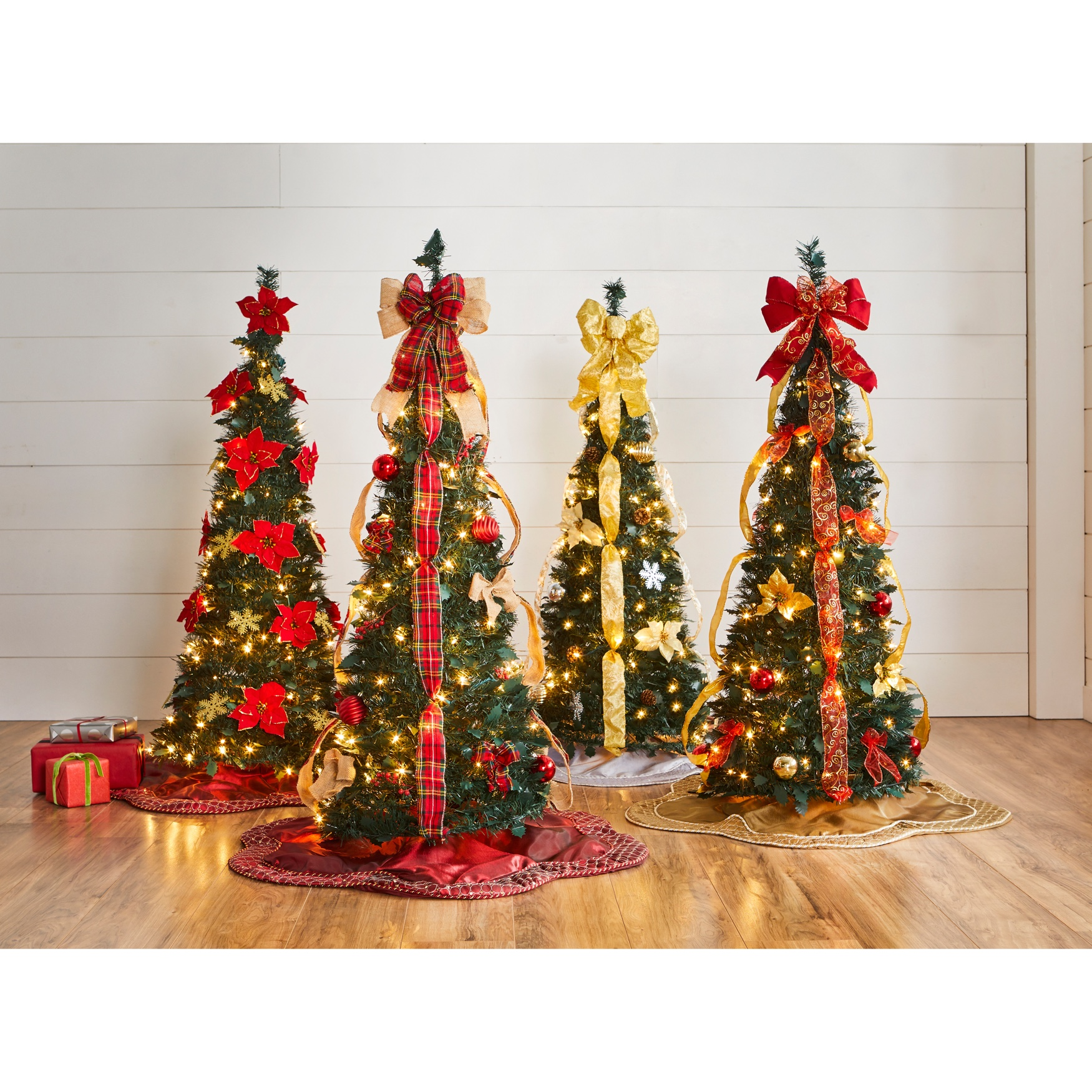 Pop Up Christmas Trees With Lights: Fully Decorated Pre-Lit 4½' Pop-Up Christmas Tree