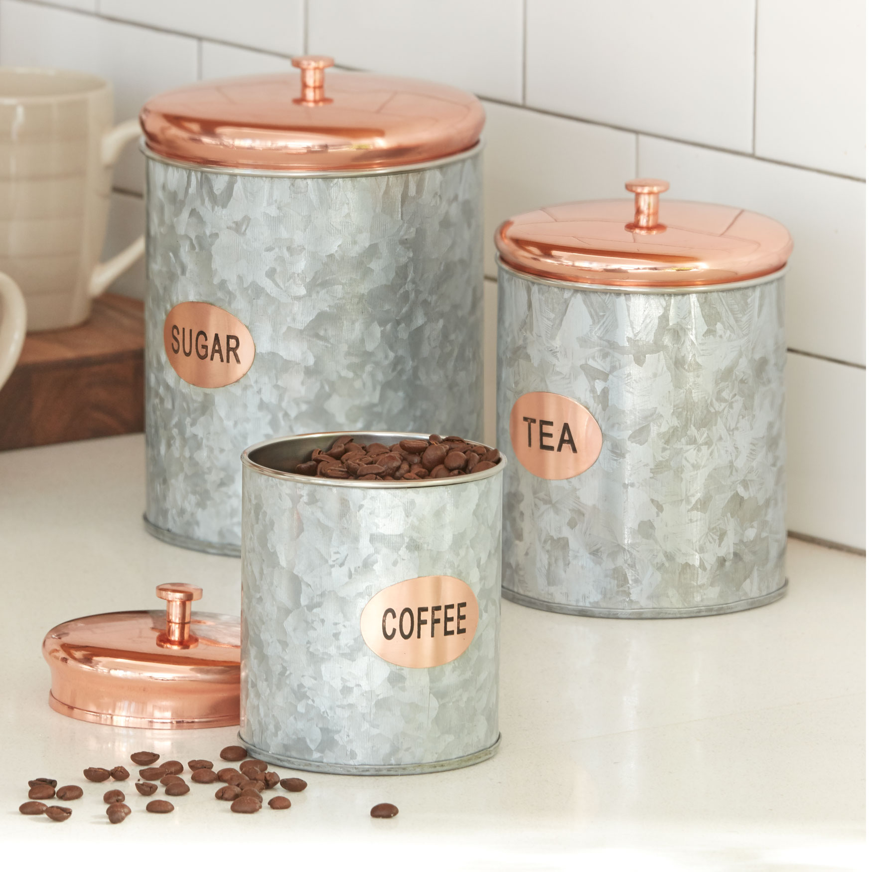 Set of 3 Galvanized Metal Canisters, COPPER