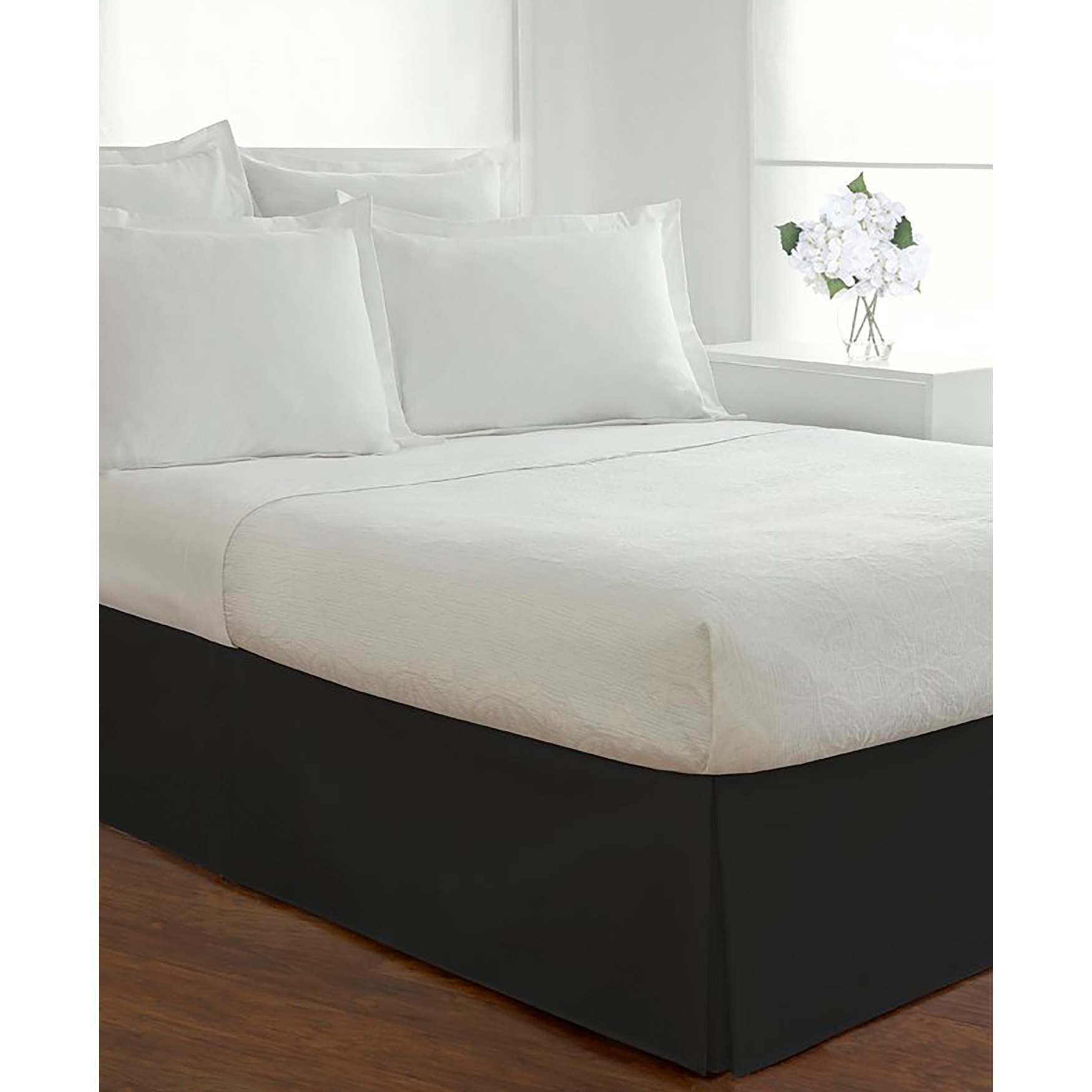 "Luxury Hotel Classic Tailored 14"" Drop Black Bed Skirt,"