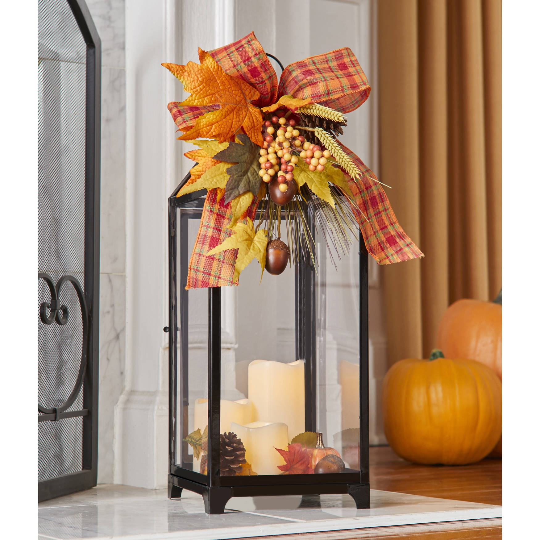 "24"" Harvest Wheat Lantern with 3 LED Candles, MULTI"