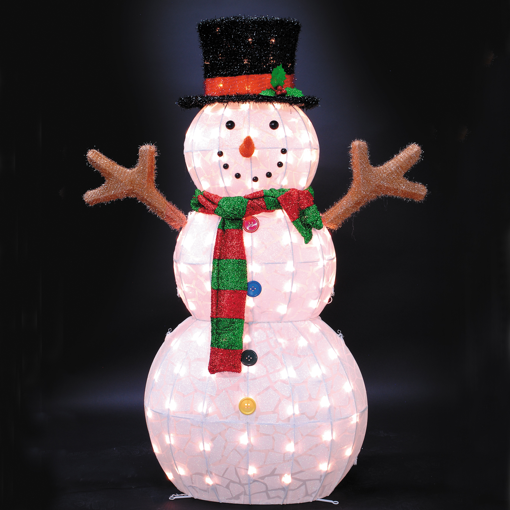 "48""H 105 LT Ice Pattern Snowman, MULTI"