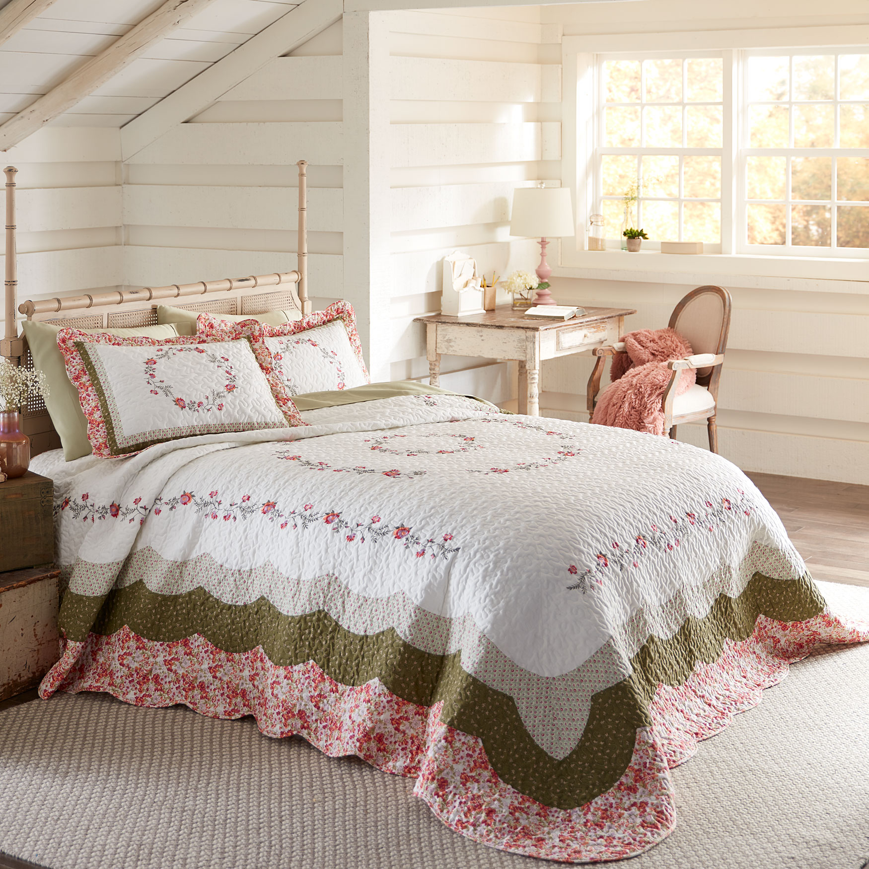 Bernice Embroidered Floral Bedspread,
