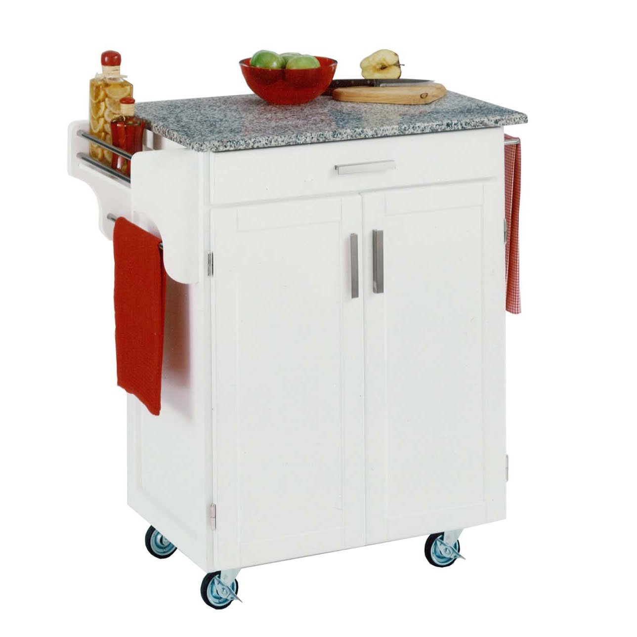 White Wood Cuisine Kitchen Cart with Salt & Pepper Granite Top, WHITE SALT WATER DIVE PEPPER