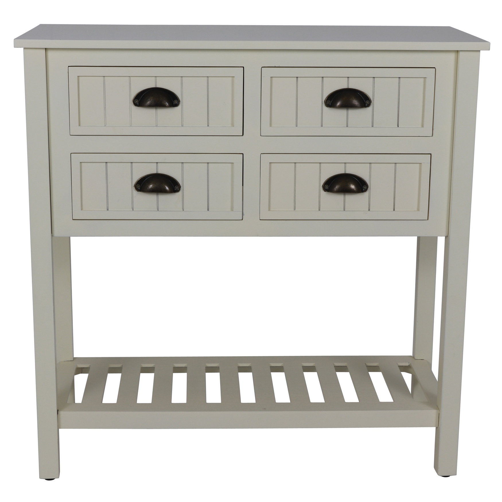 Beadboard Antique Console, WHITE