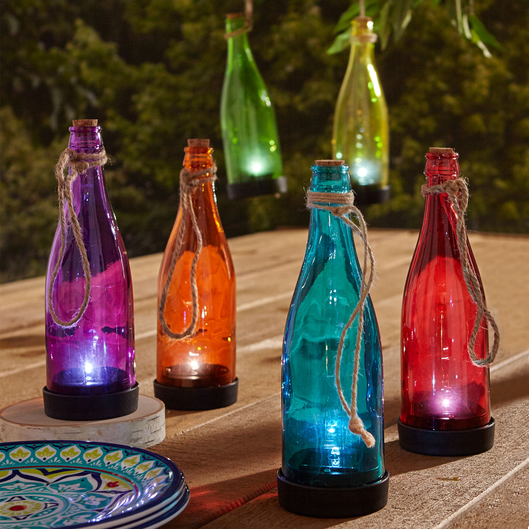 Pre-Lit Glass Bottles, Set of 6, MULTI