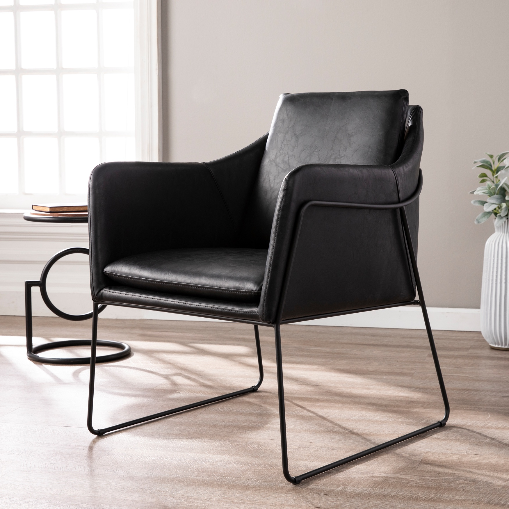Kester Black Faux Leather Accent Chair, BLACK