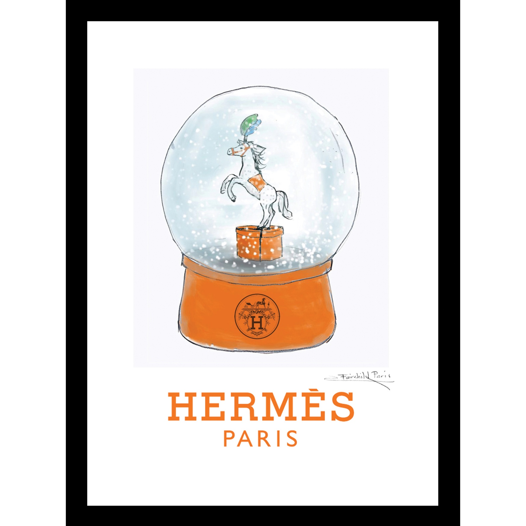 Hermes Globe 14x18 Framed Print, ORANGE WHITE