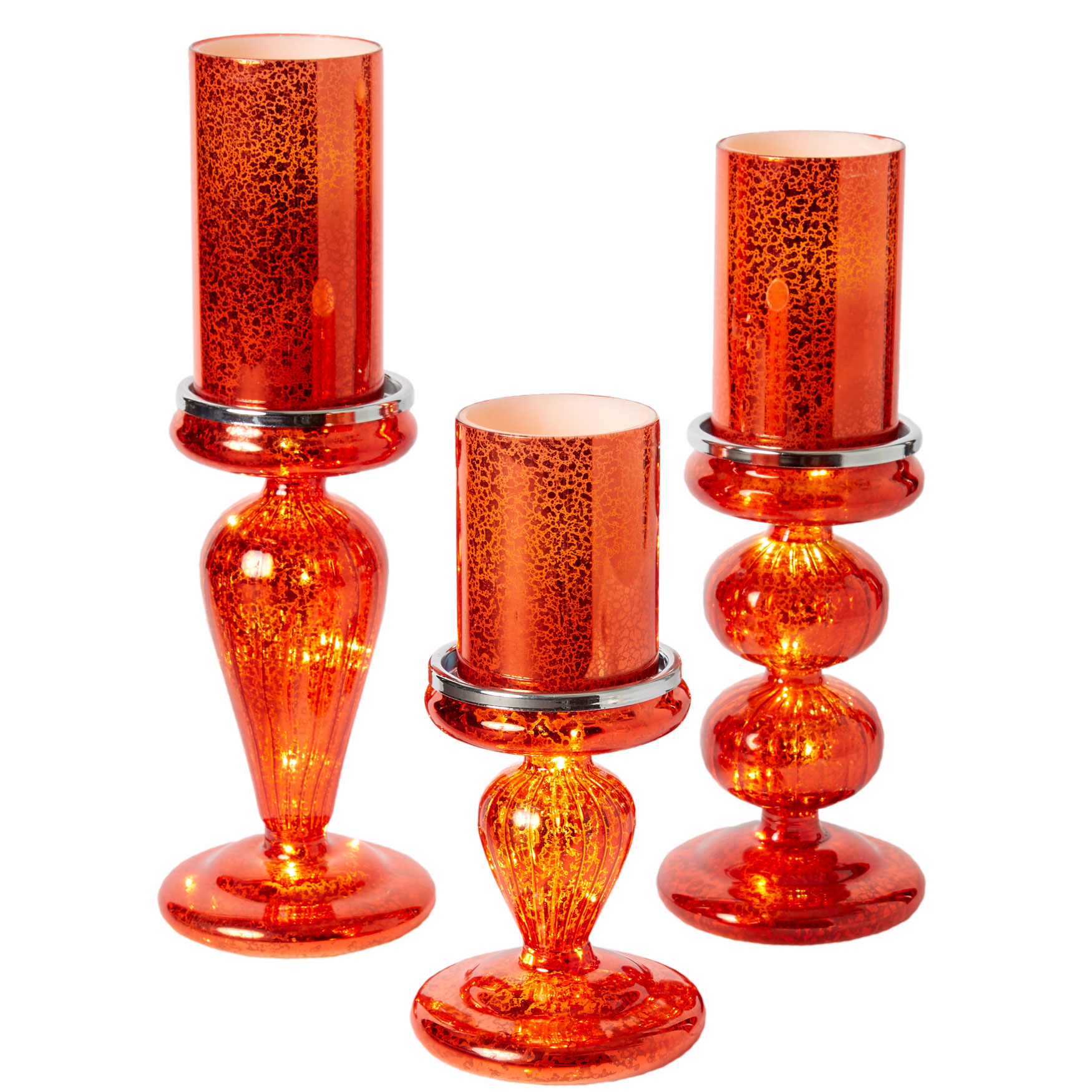 Set of 3 Candle Bases with LED Lights, RED