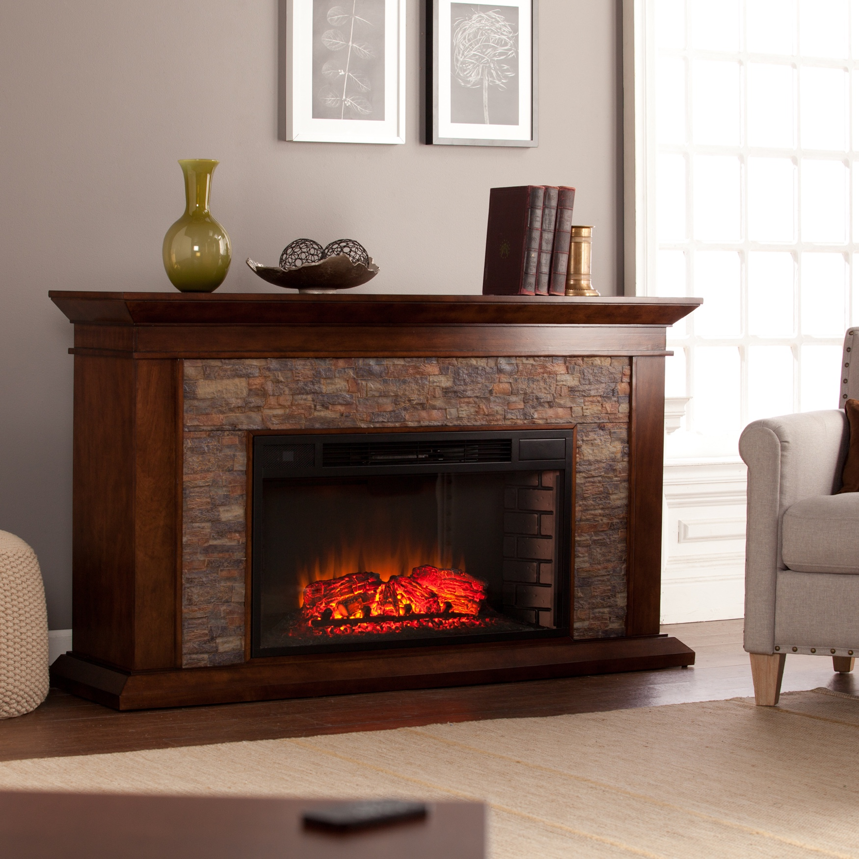Canyon Heights Simulated Stone Electric Fireplace, MAPLE