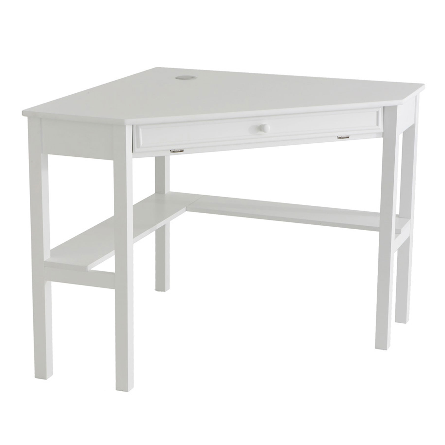 Solid Wood Contemporary Corner Computer Desk, PAINTED WHITE