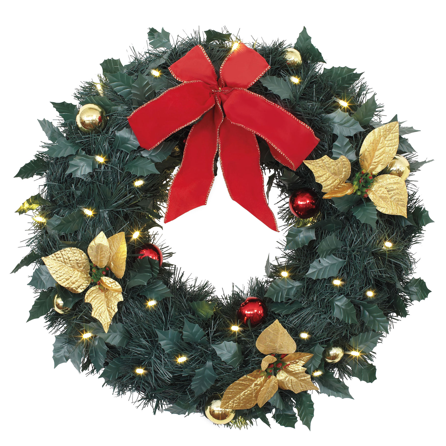 18' Cordless LED Christmas Wreath, RED GOLD