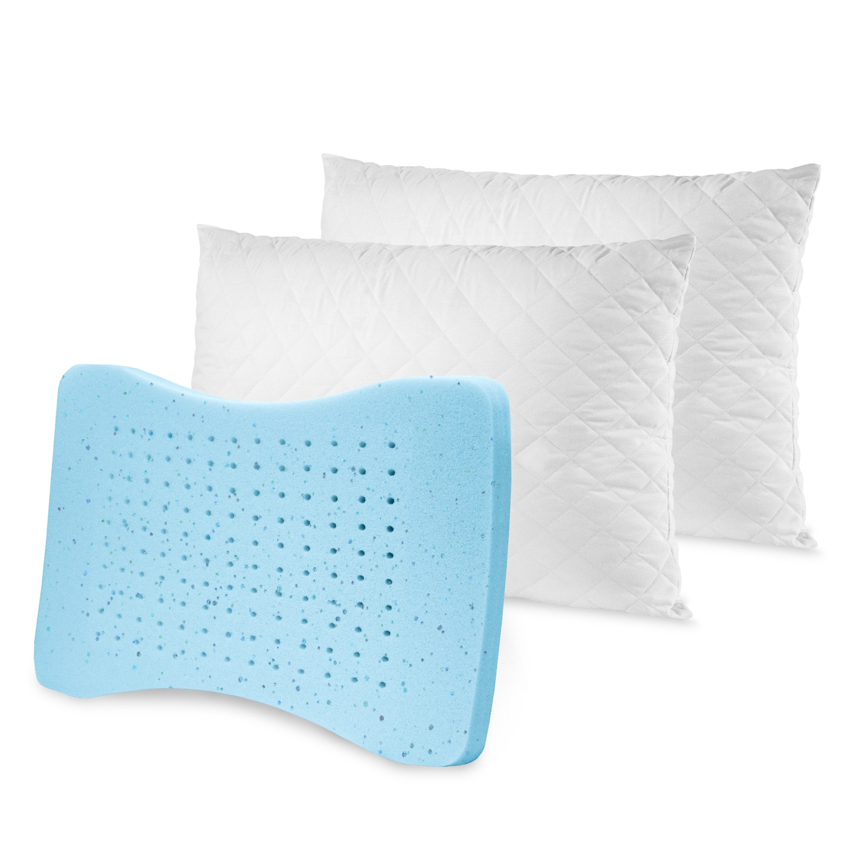 SensorPEDIC MemoryLOFT Deluxe Quilted Pillow with Gel-Infused Memory Foam Center - 2 Pack, WHITE