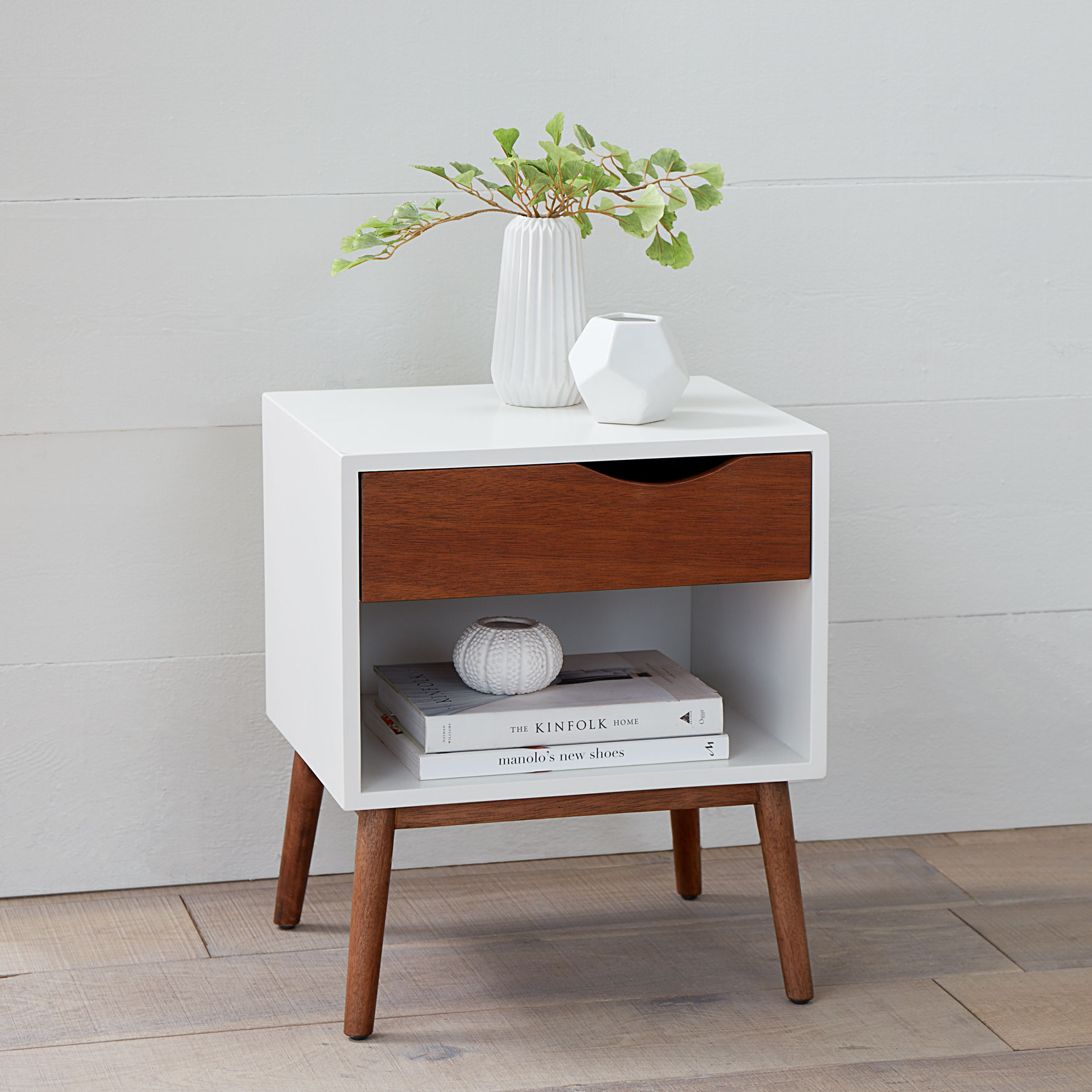 Reena Retro Side Table, WHITE NATURAL