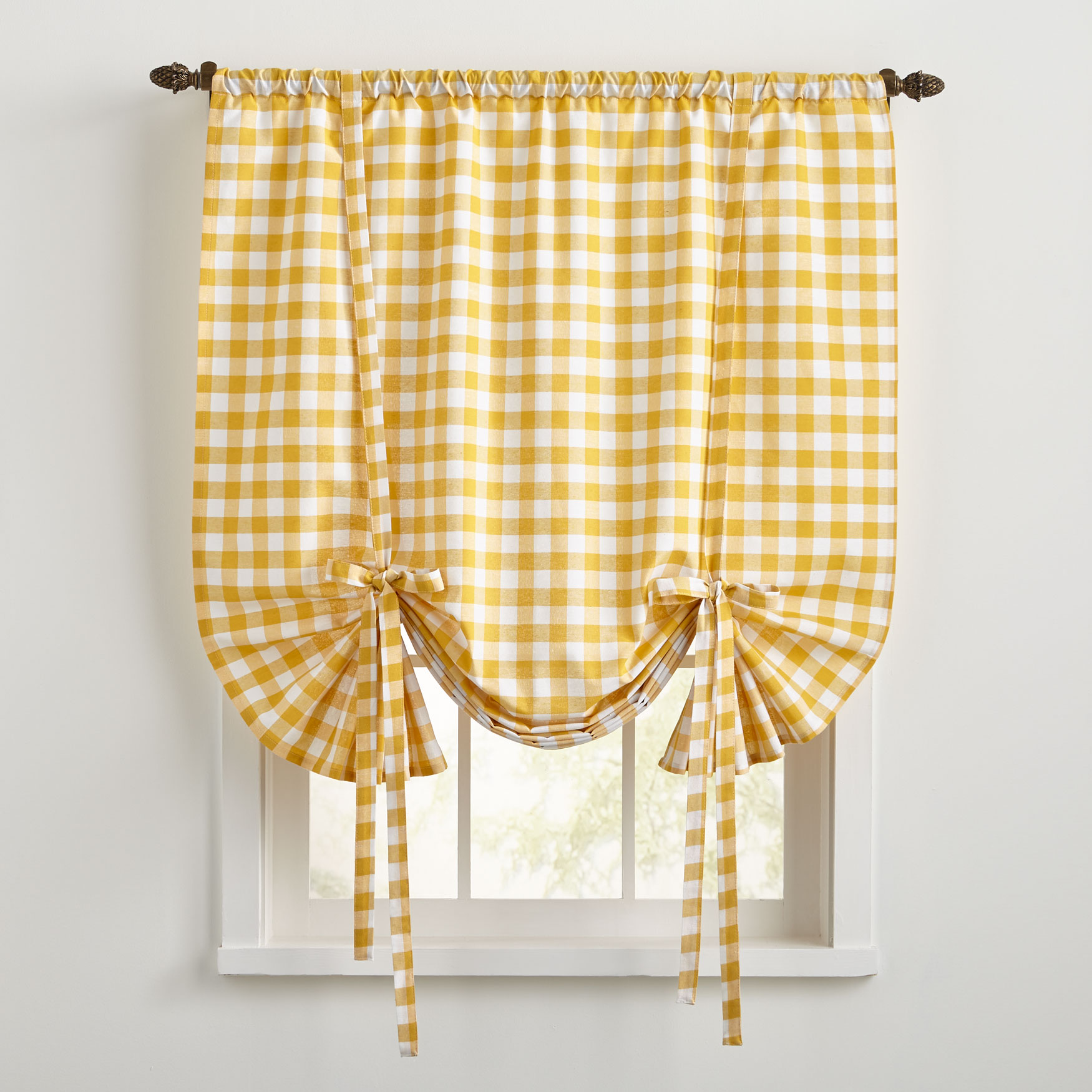 tie up window valance cotton buffalo check tieup window shade yellow shade plus size kitchen curtains