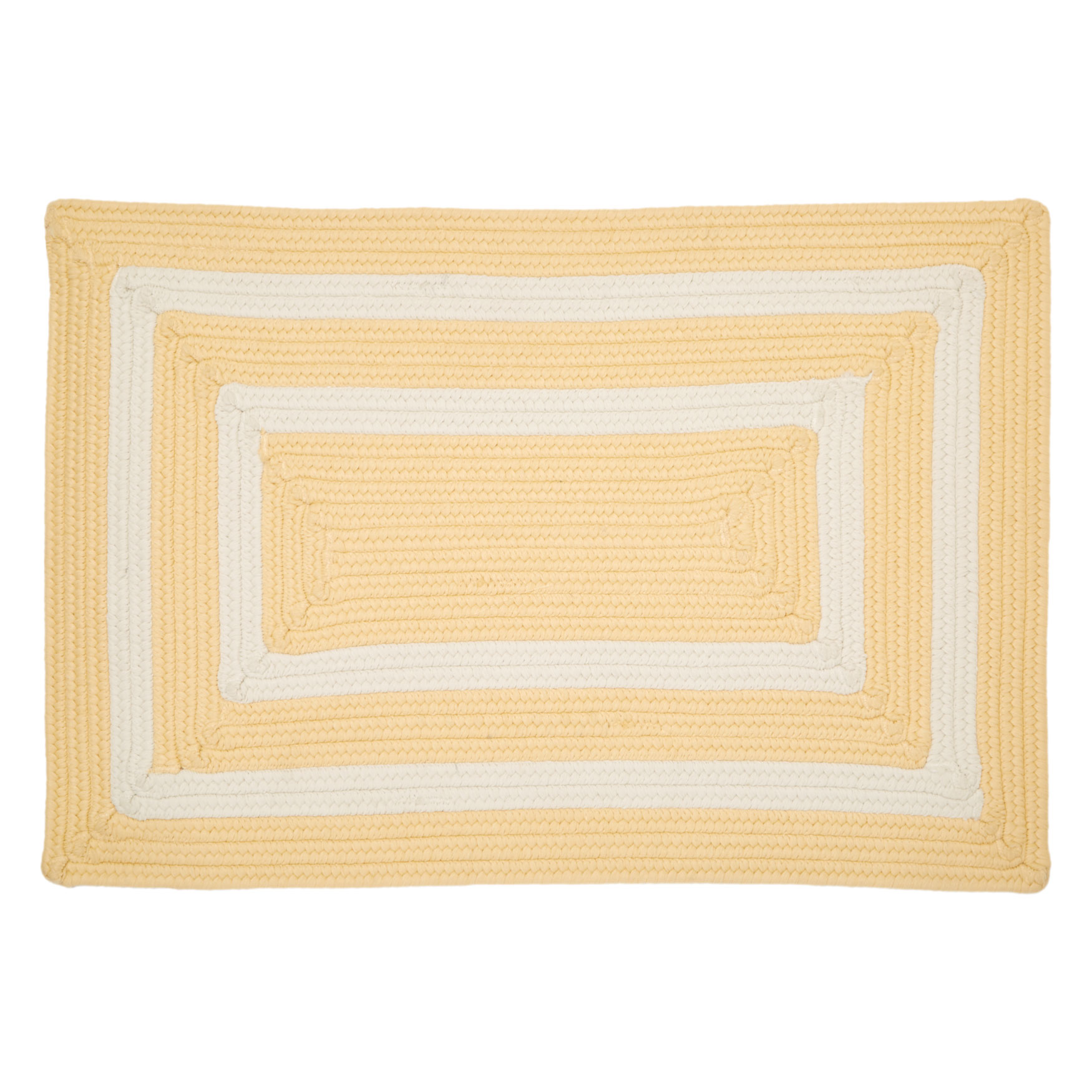 "La Playa Reversible 30""W x 48""L Double-Bordered Mat , YELLOW BORDER"