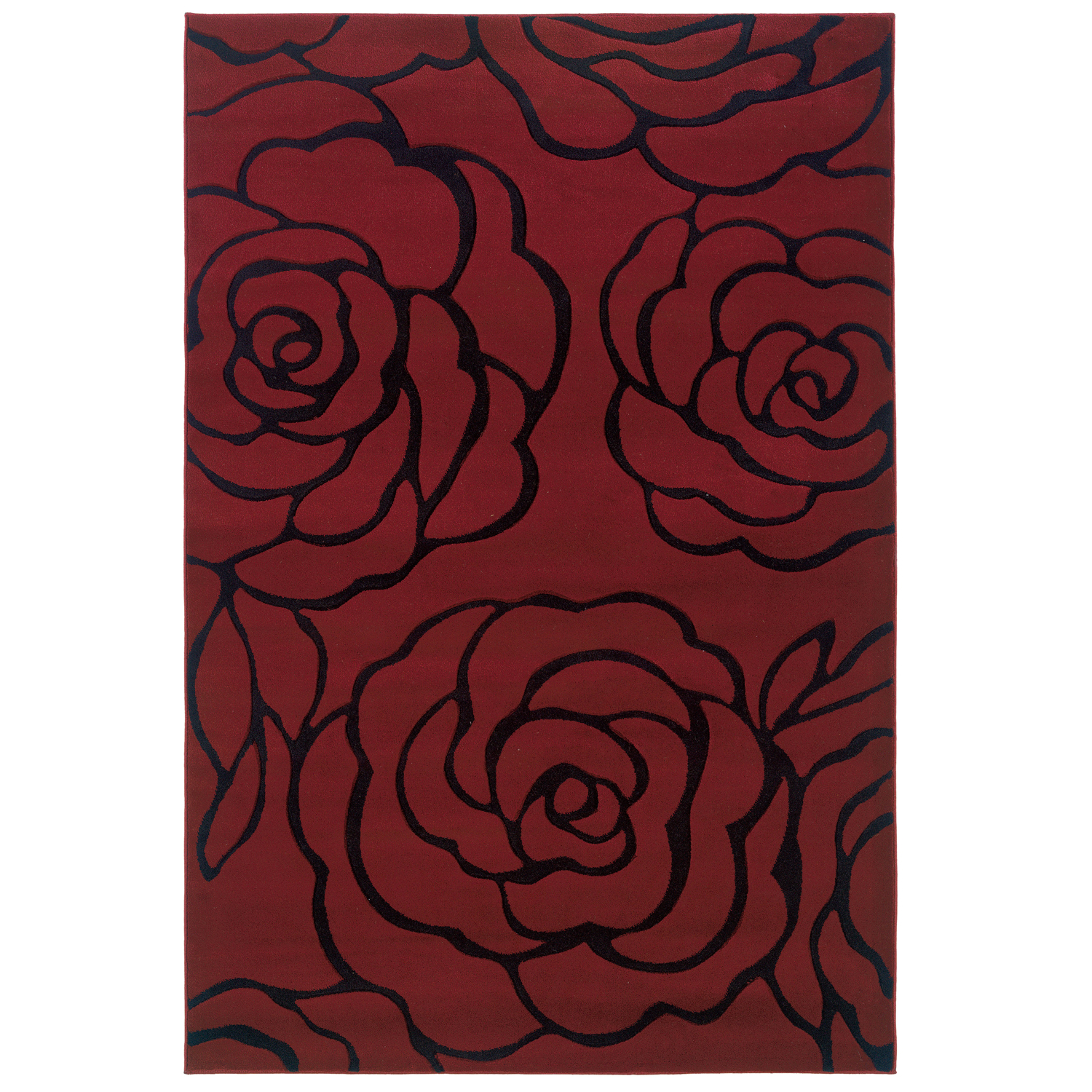 Milan Red/Black 5'X8' Area Rug, RED BLACK