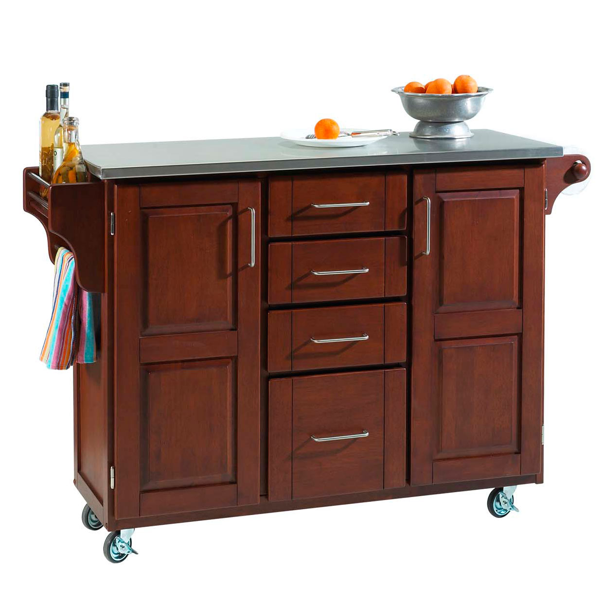 Large Cherry Finish Create a Cart with Stainless Steel Top, CHERRY STAINLESS STEEL