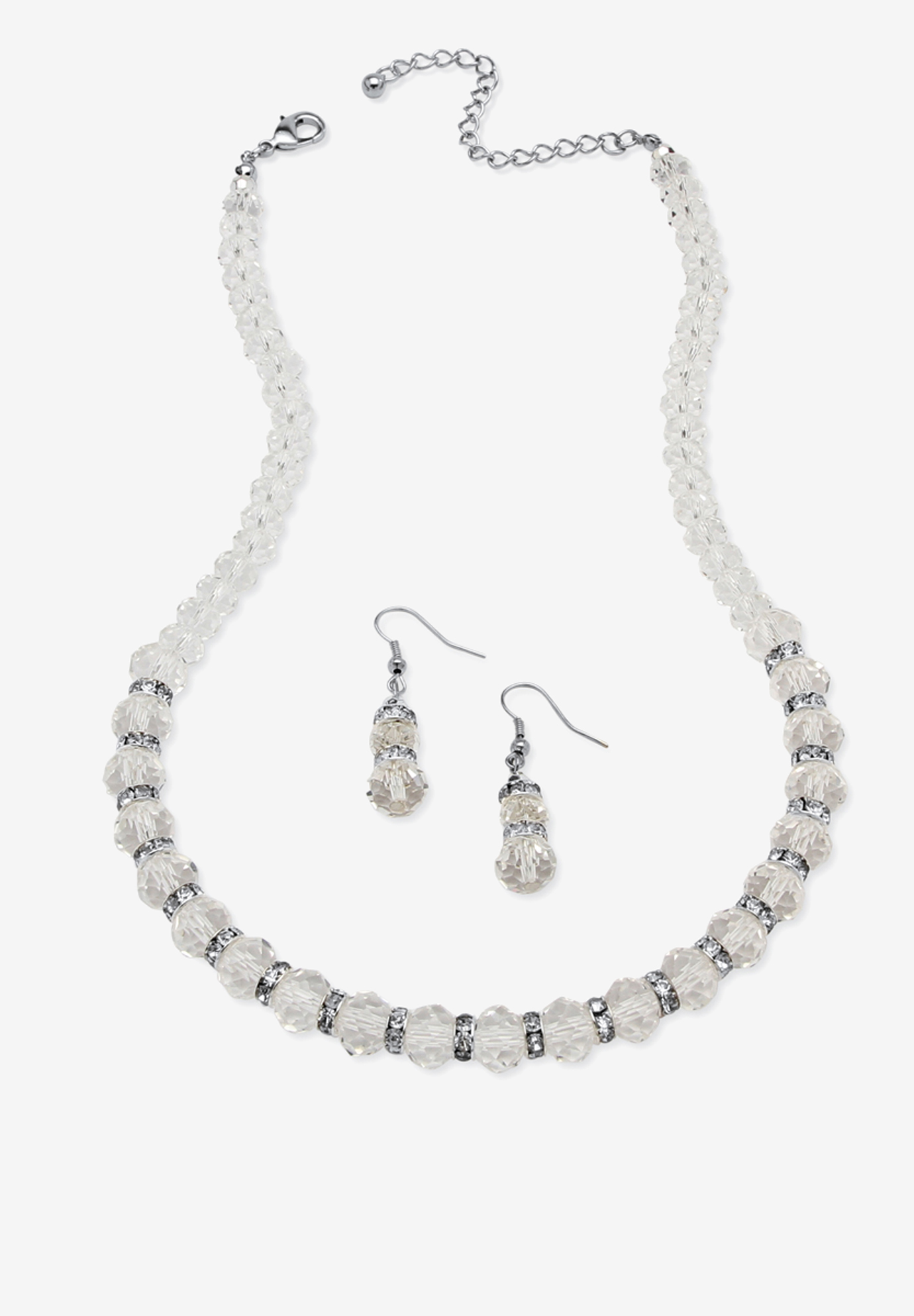 "Silver Tone Graduated Necklace & Earring Set Simulated 18"" plus 2"" ext,"