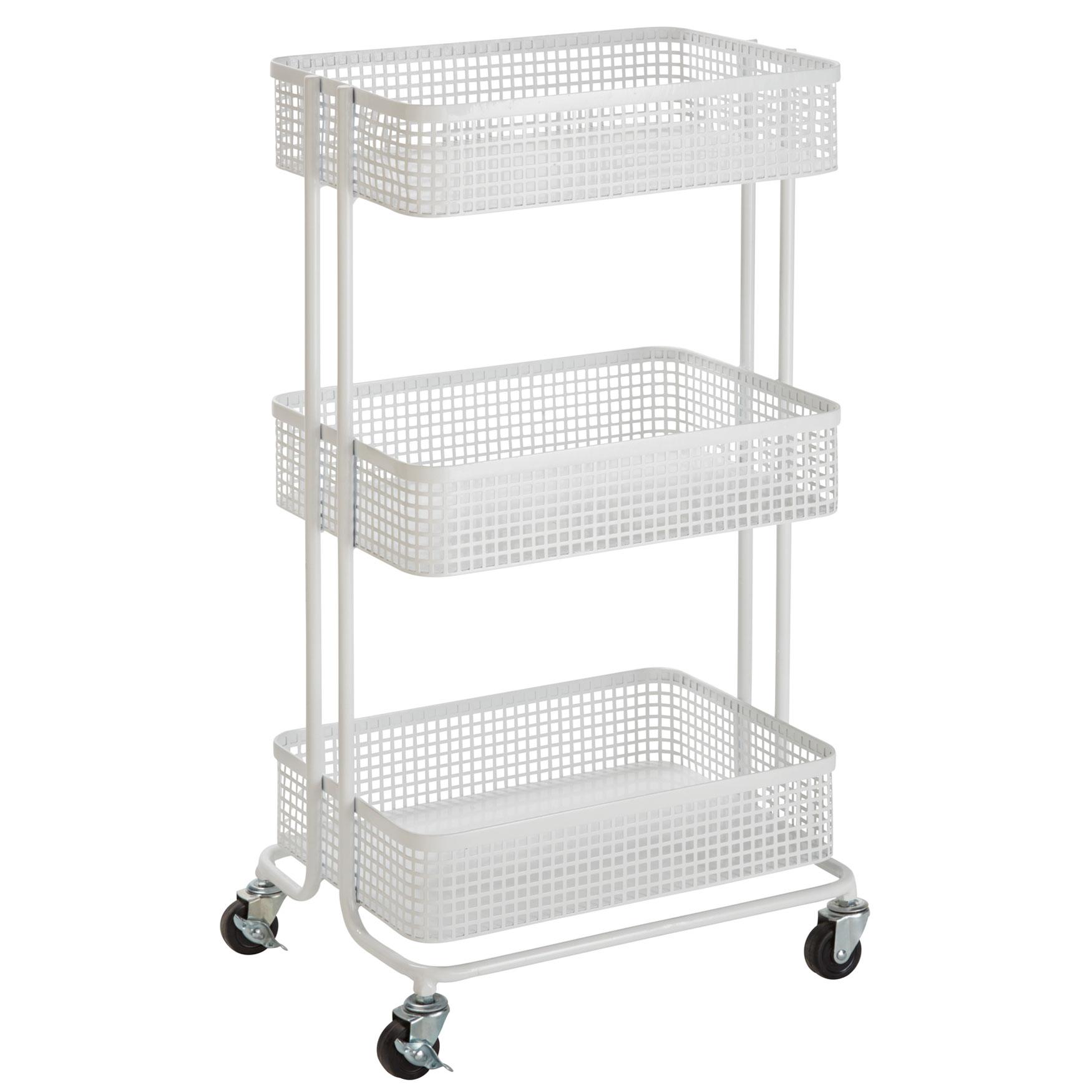 Aristo 3 Tier Rolling Storage Cart White