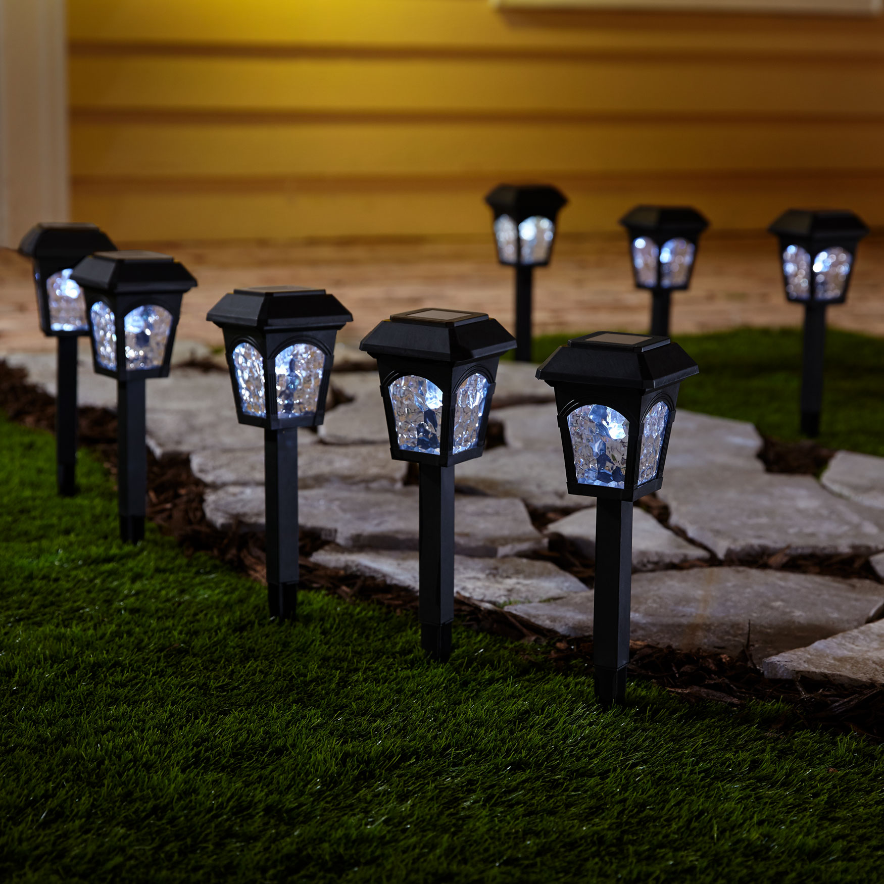 Black Solar Lights, Set of 8, BLACK
