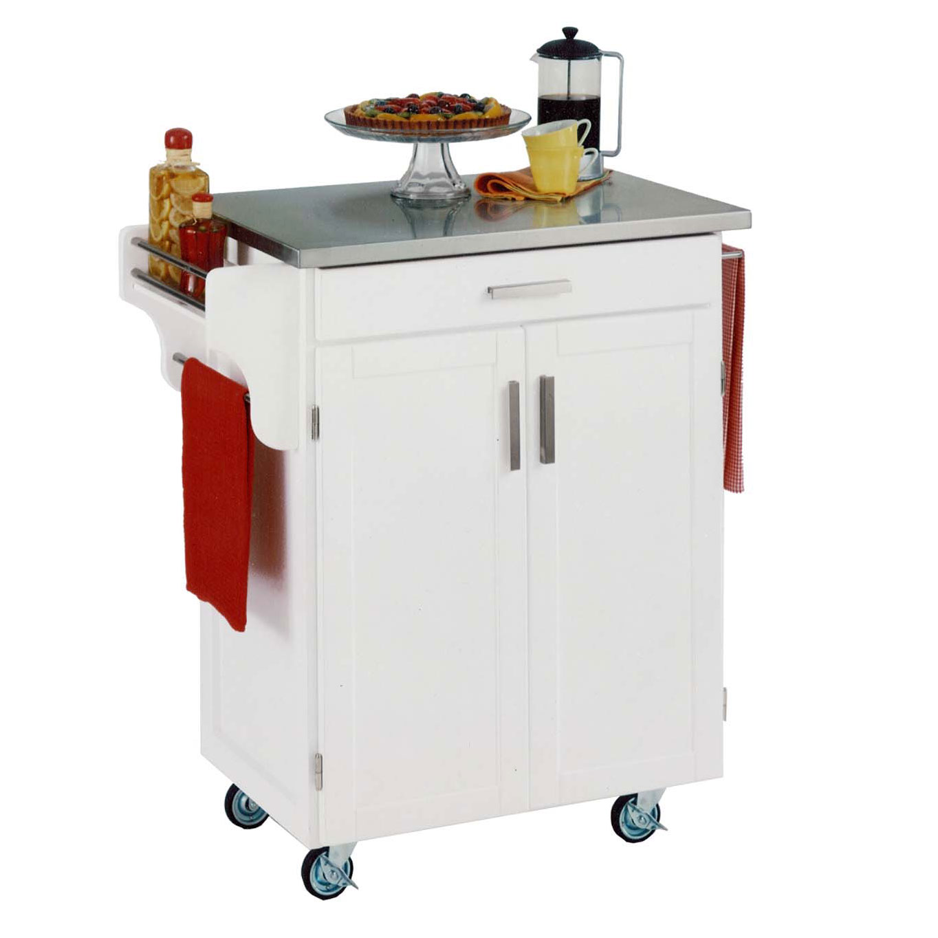 White Wood Kitchen Cart with Stainless Steel Top, WHITE STAINLESS STEEL