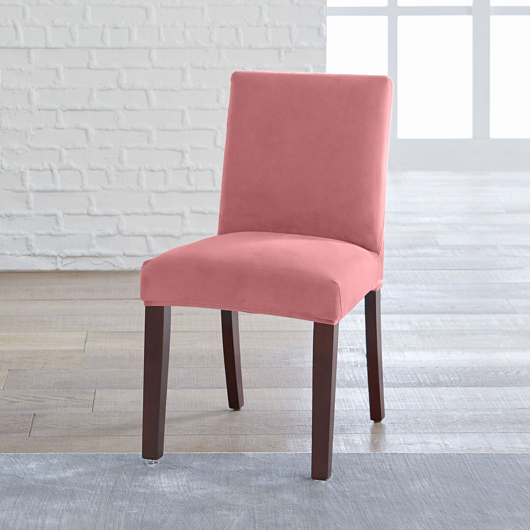 BrylaneHome® Studio Vera Stretch Velvet Dining Chair Slipcover, ROSE