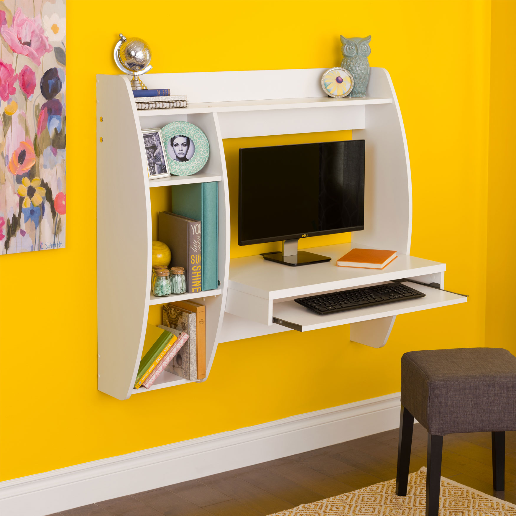 Angular Hutch-Style Floating Desk,