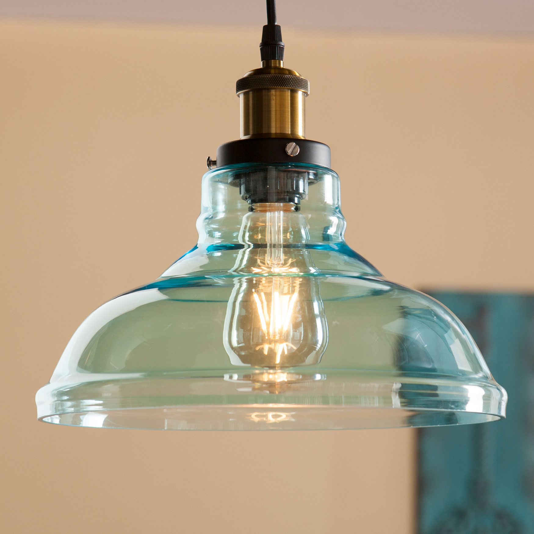 Colored Glass Dreamy Bell-Shaped Pendant Lamp, AQUA BLACK