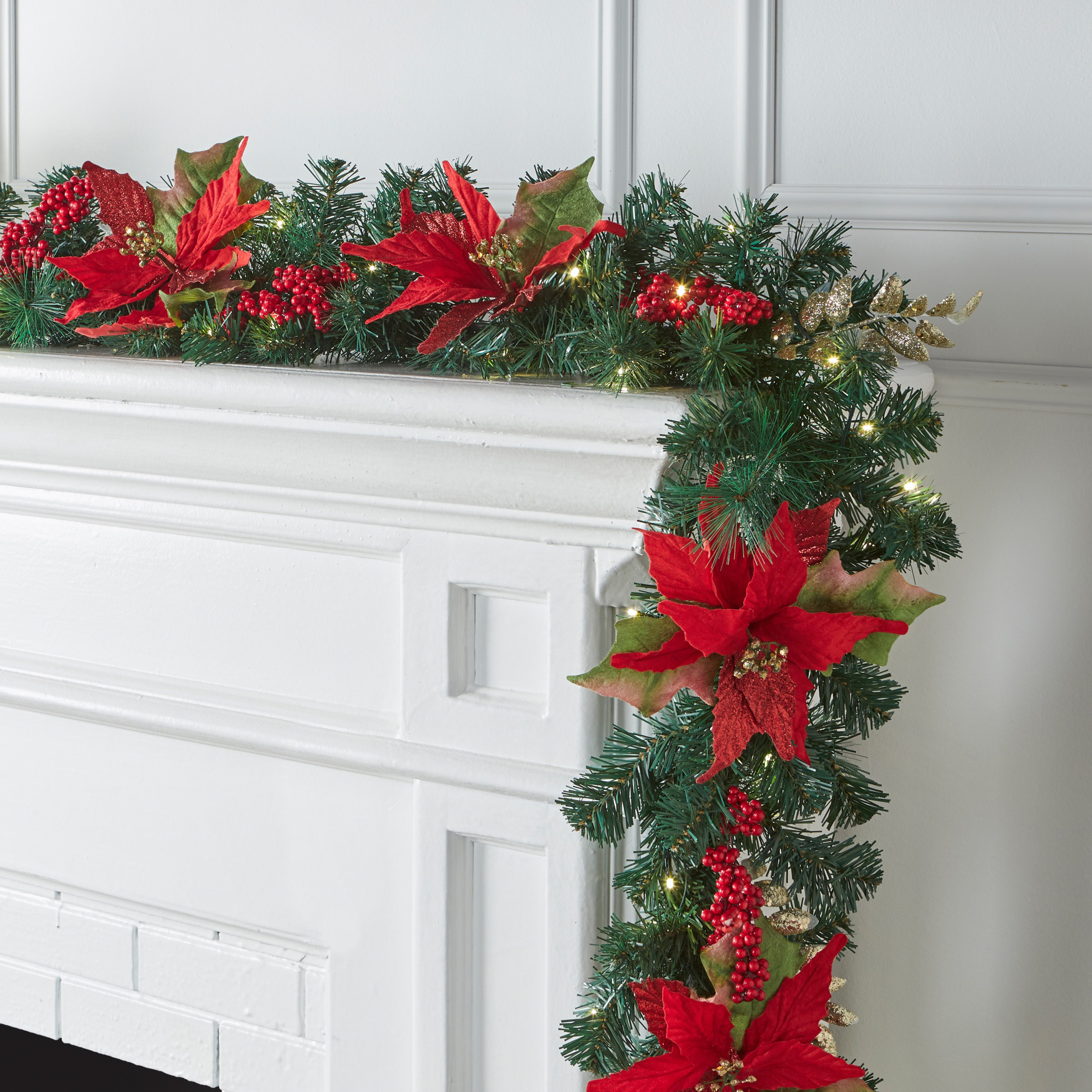 Pre-Lit Poinsettia 9' Garland, RED