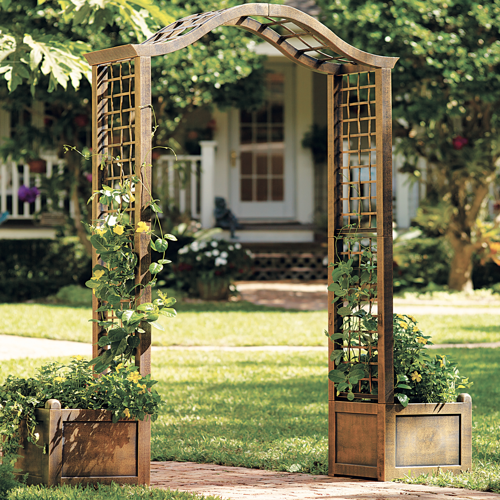 White Metal Wedding Arch Garden Decoration Bridal Party ...  |Outdoor Arch Decorations
