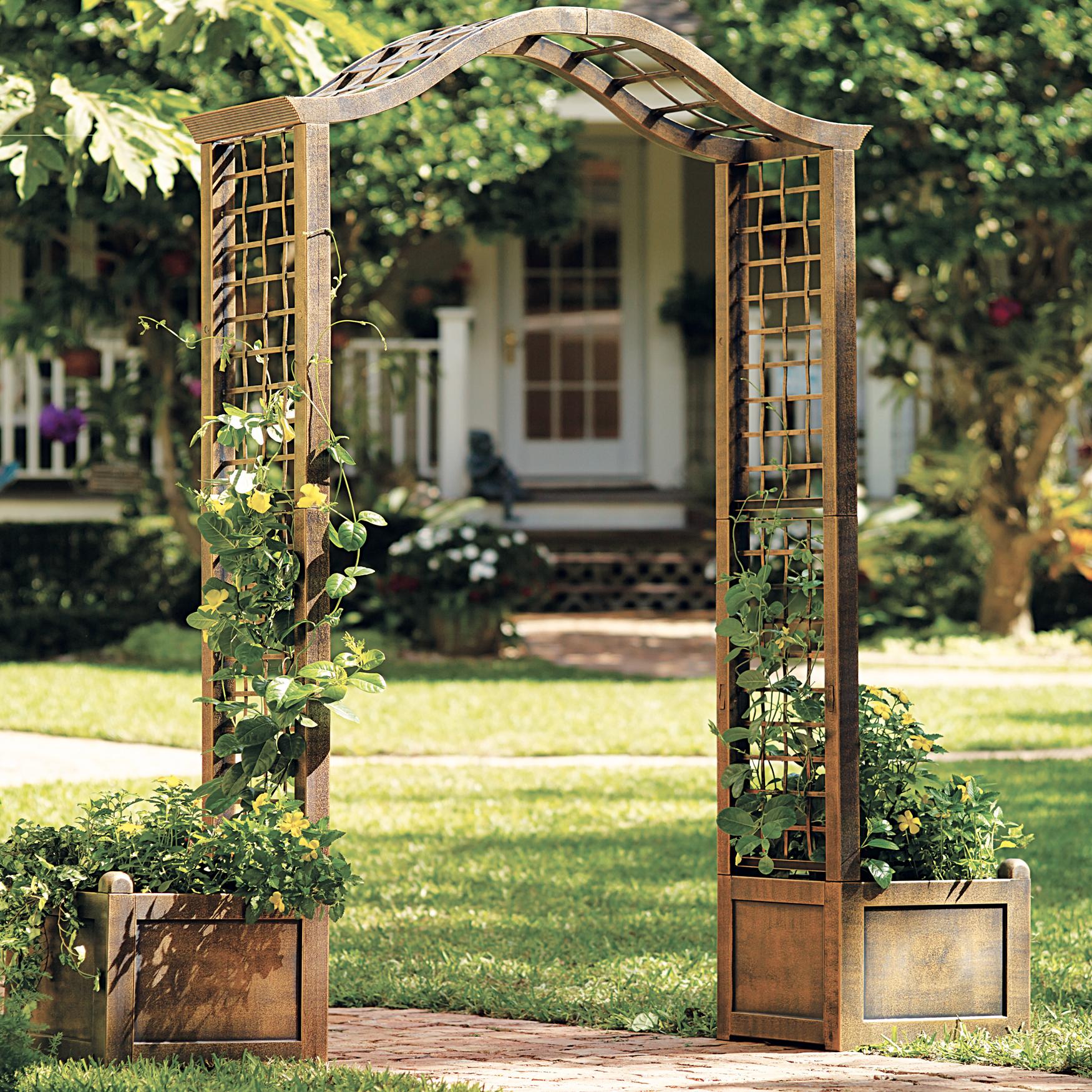 Resin garden arch trellis bronze