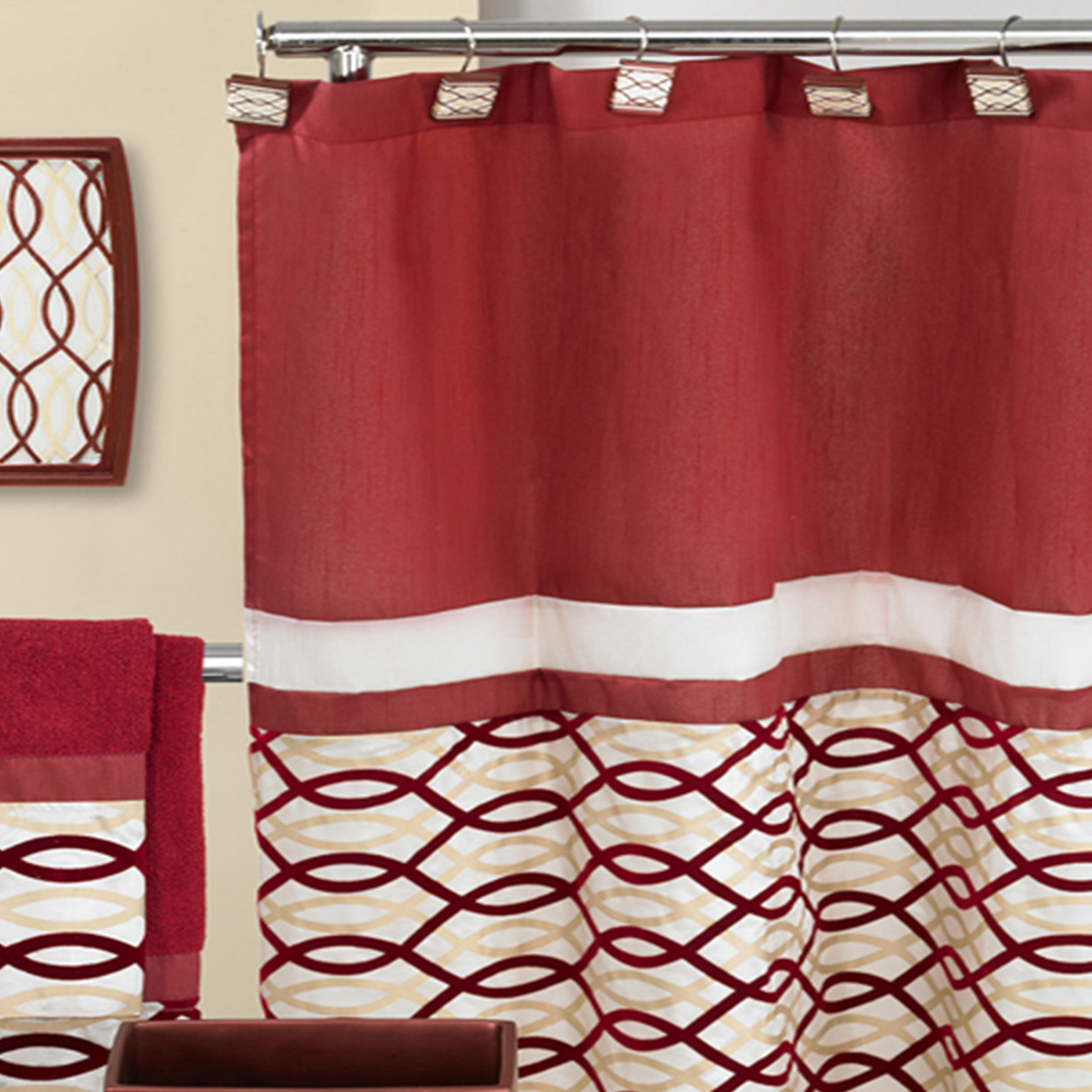 Harmony Shower Curtain , BURGUNDY