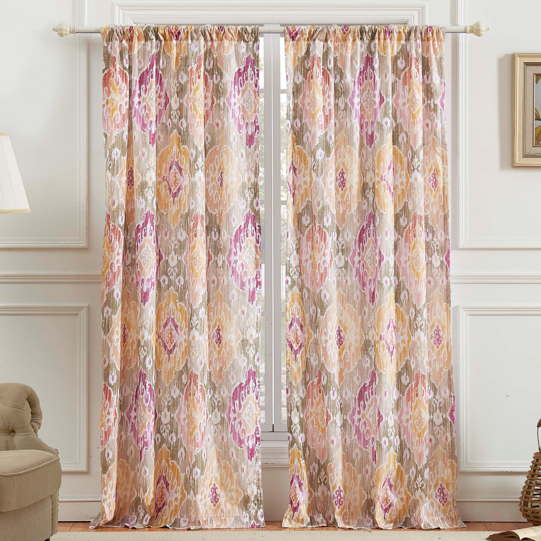 Ibiza Curtain Panel Pair by Barefoot Bungalow, MULTI