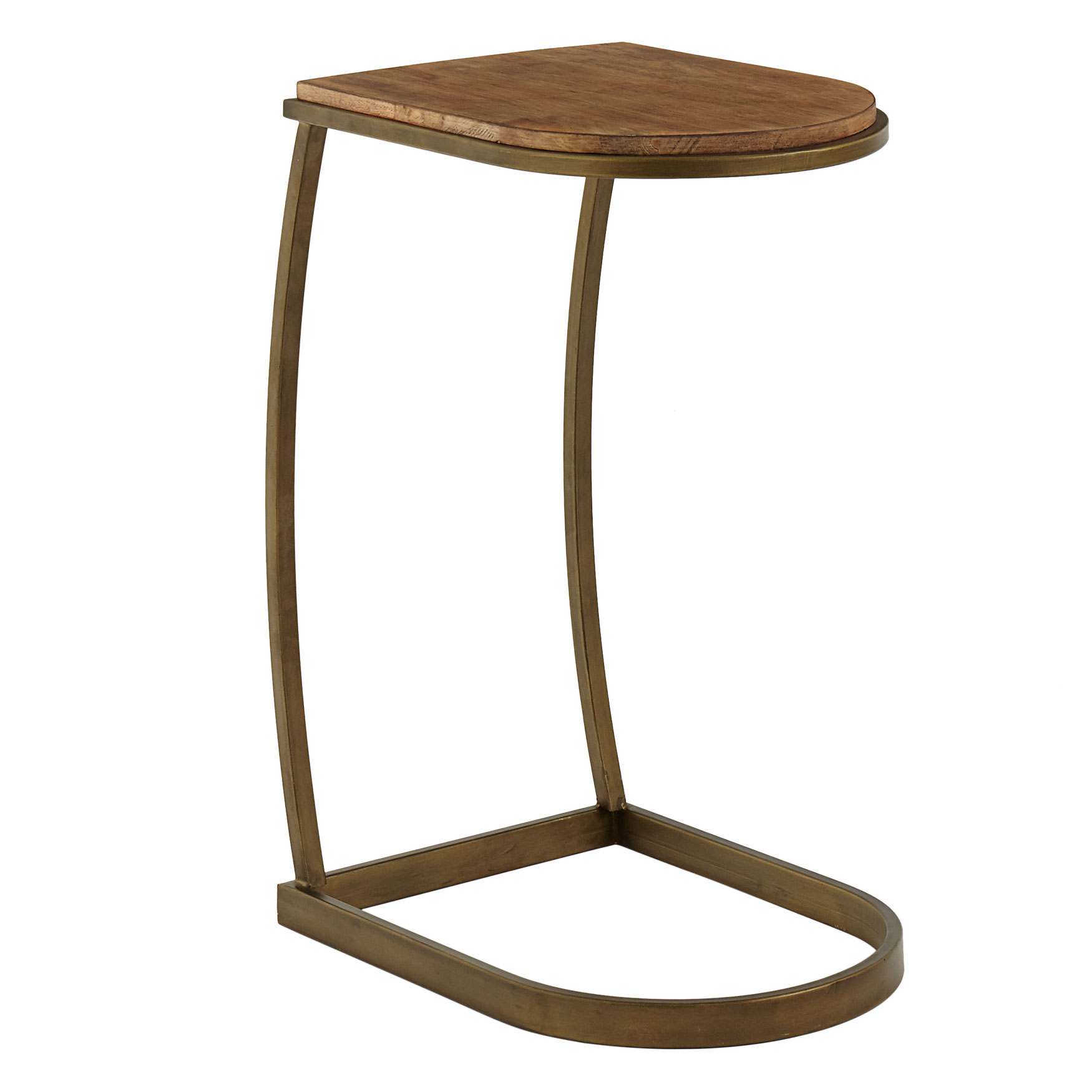 Curved Sofa Side Table , ANTIQUE GOLD NATURAL