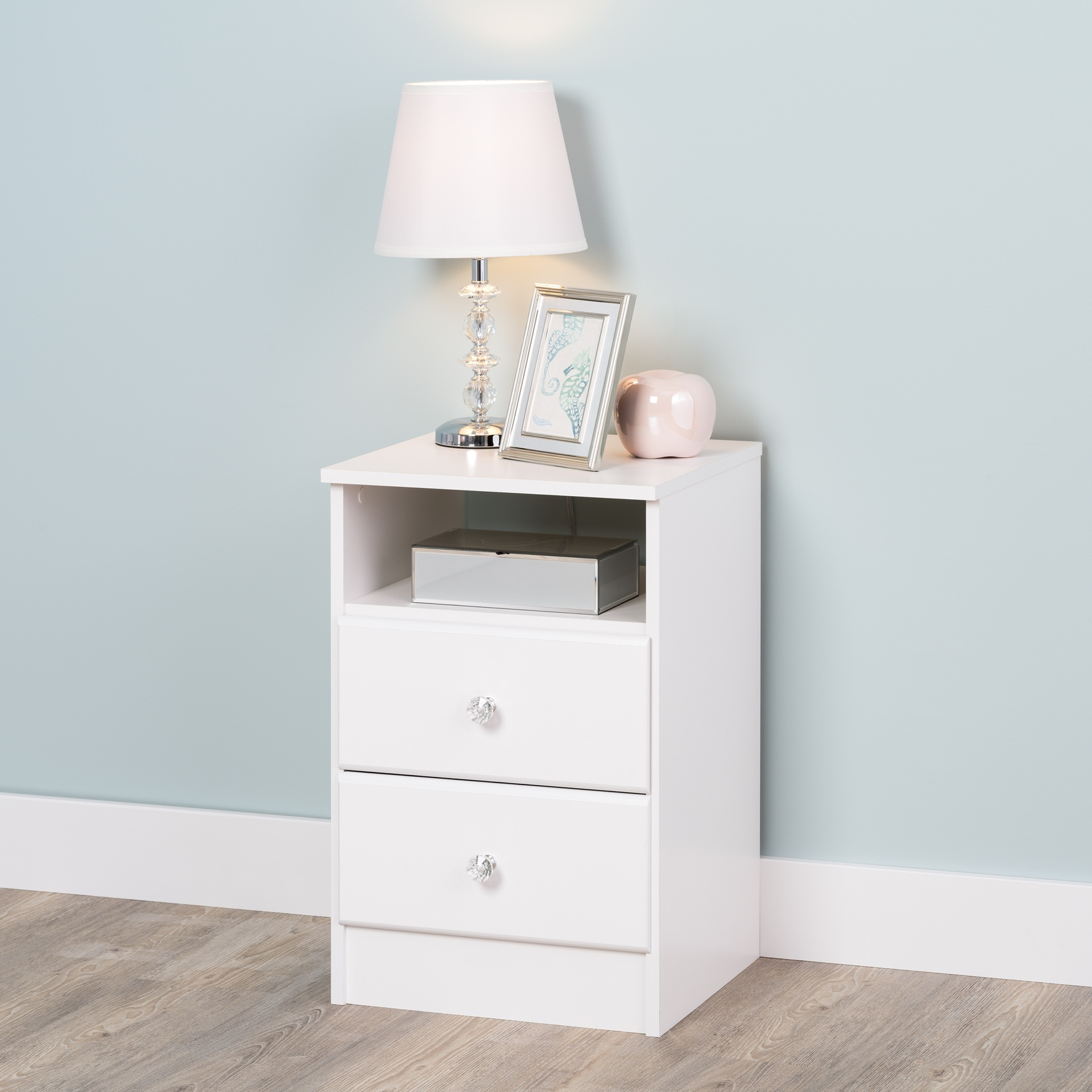 Astrid 2-Drawer Nightdstand with Acrylic Knobs, White, WHITE