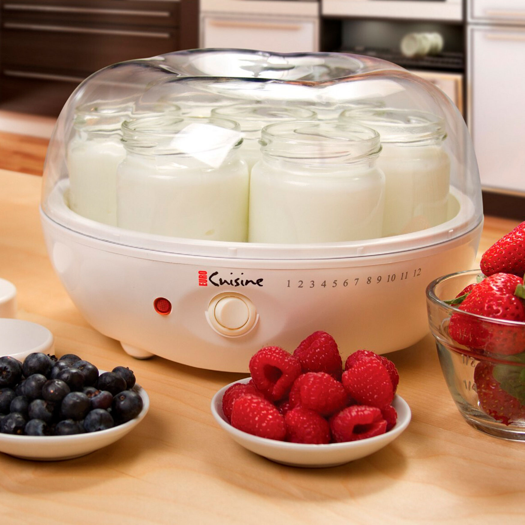 Euro Cuisine Electric Yogurt Maker with 7 Glass Jars, WHITE