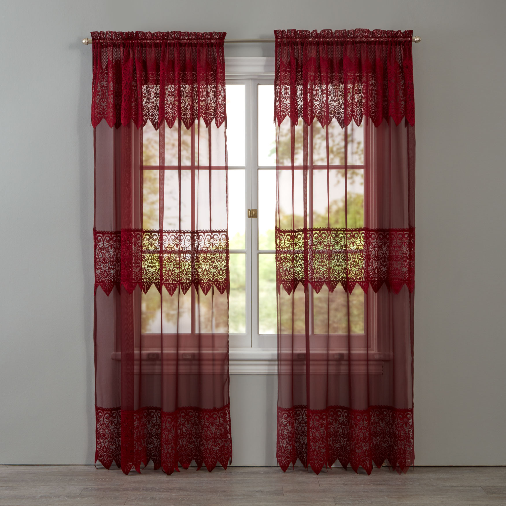 Valerie Sheer Lace Rod-Pocket Panel with Attached Valance,