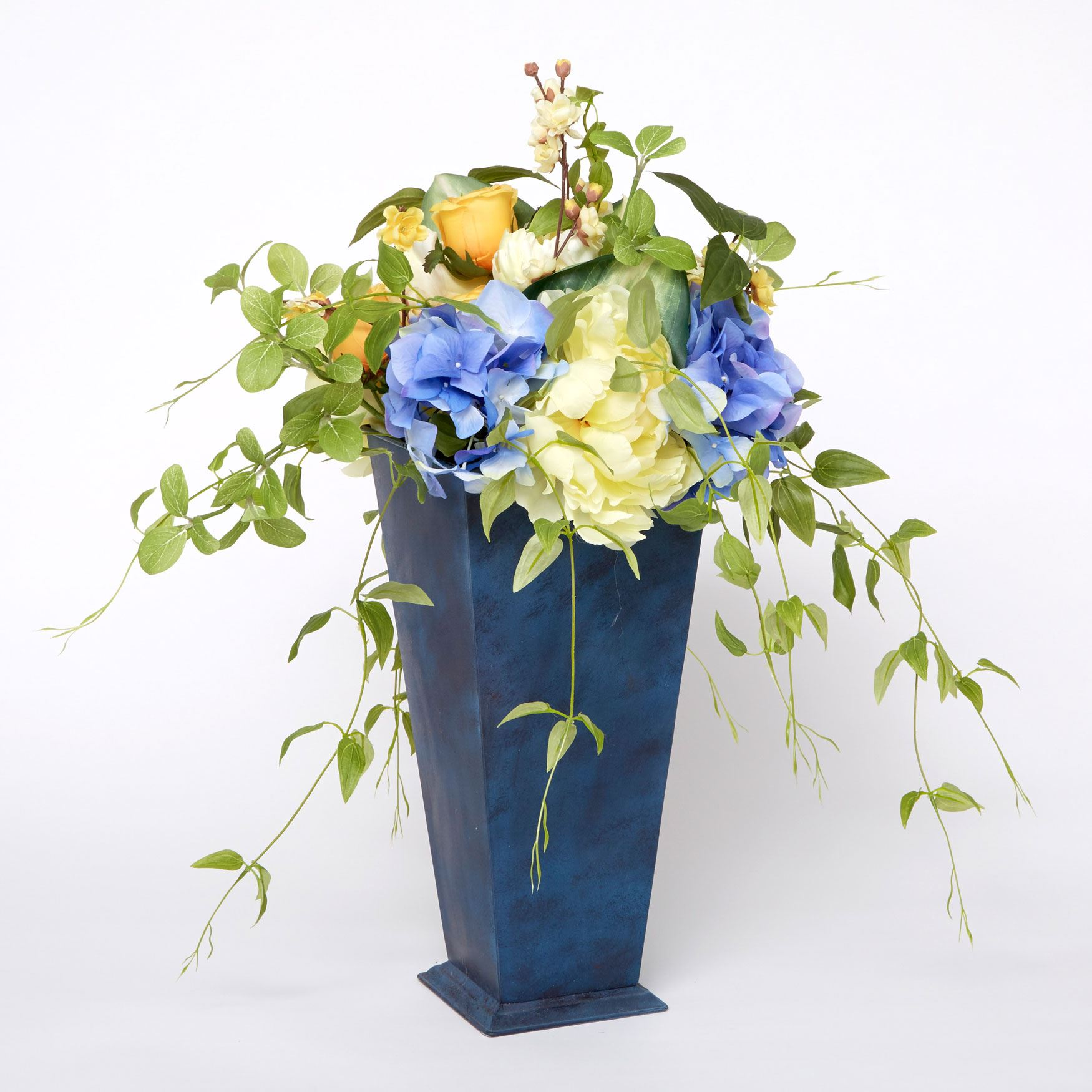 Les Fleur Arrangement with Planter, BLUE YELLOW