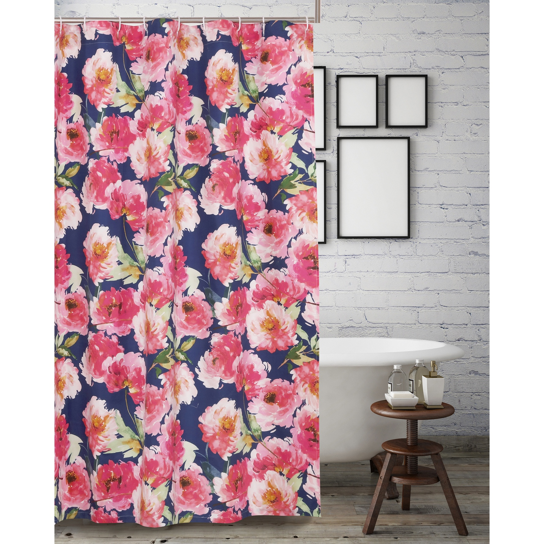 Peony Posy Navy Shower Curtain by Barefoot Bungalow, NAVY